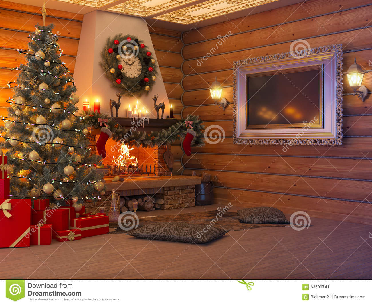 3d Illustration New Year Interior With Christmas Tree Presents Stock Illustration