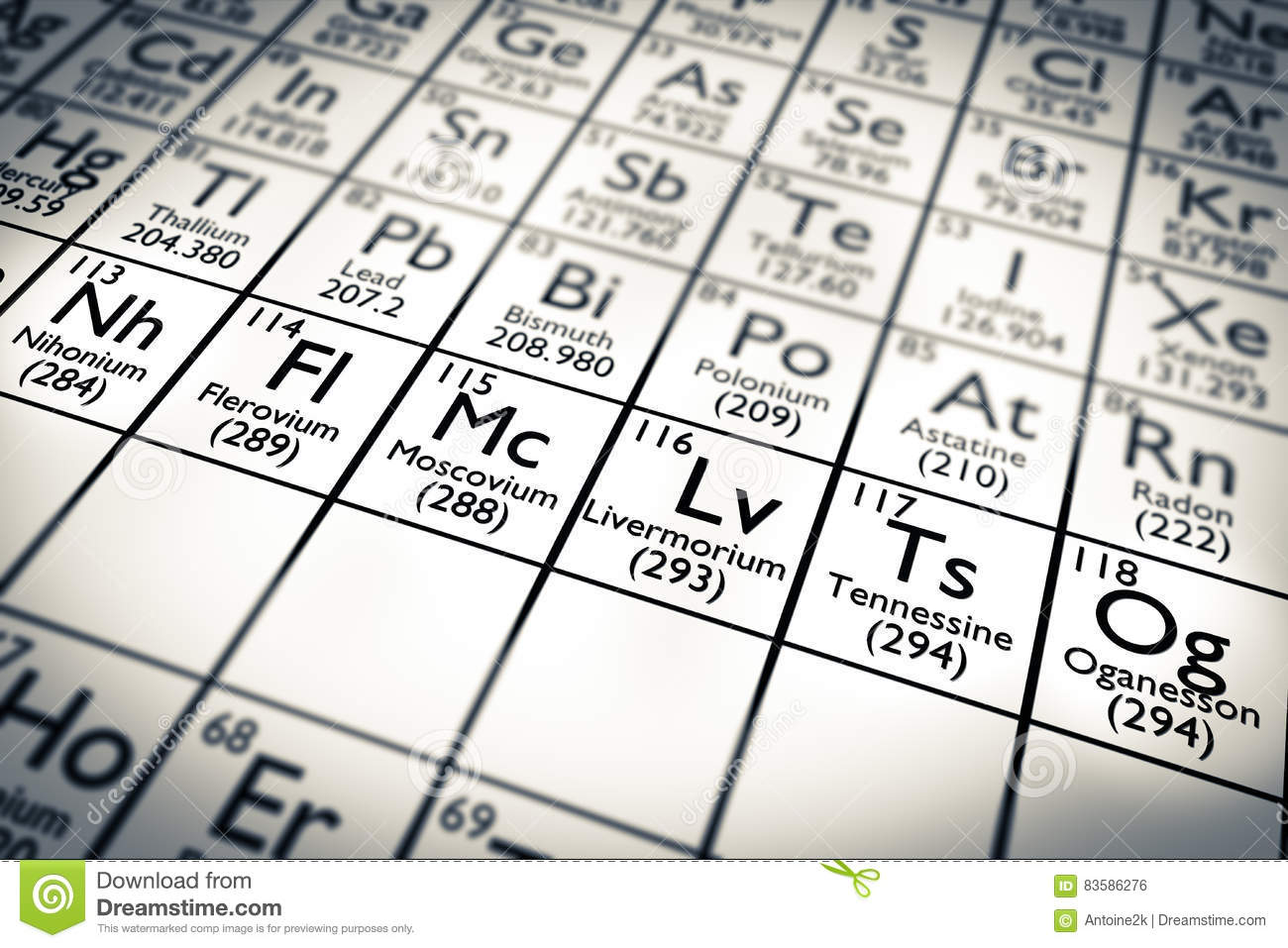 3d illustration nihonium 113 moscovium 115 tennessine 115 and royalty free illustration gamestrikefo Image collections