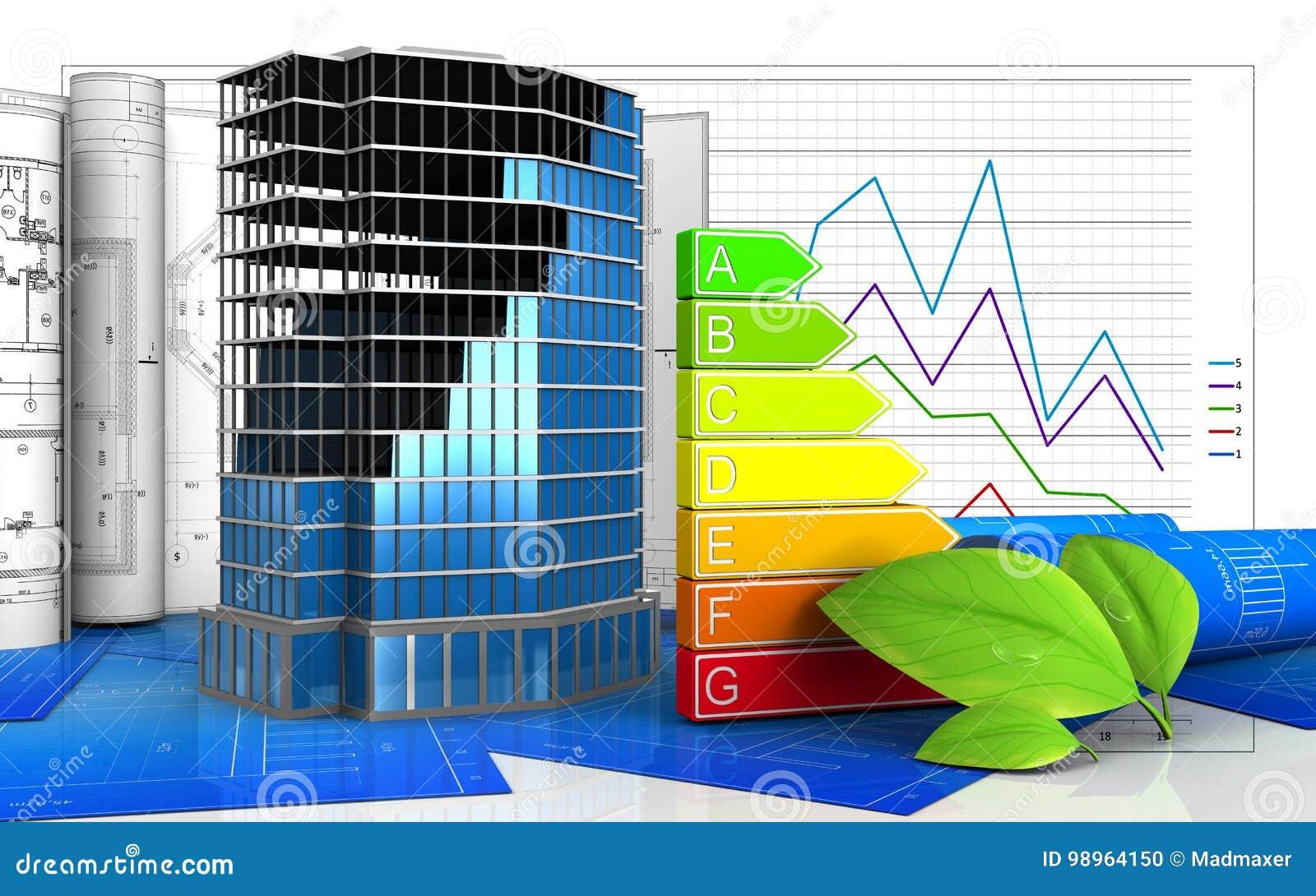 3d Office Building Construction Stock Illustration Illustration