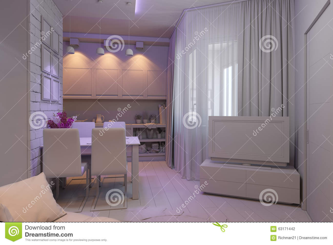 3d Illustration Of The One Room Apartment Visualization
