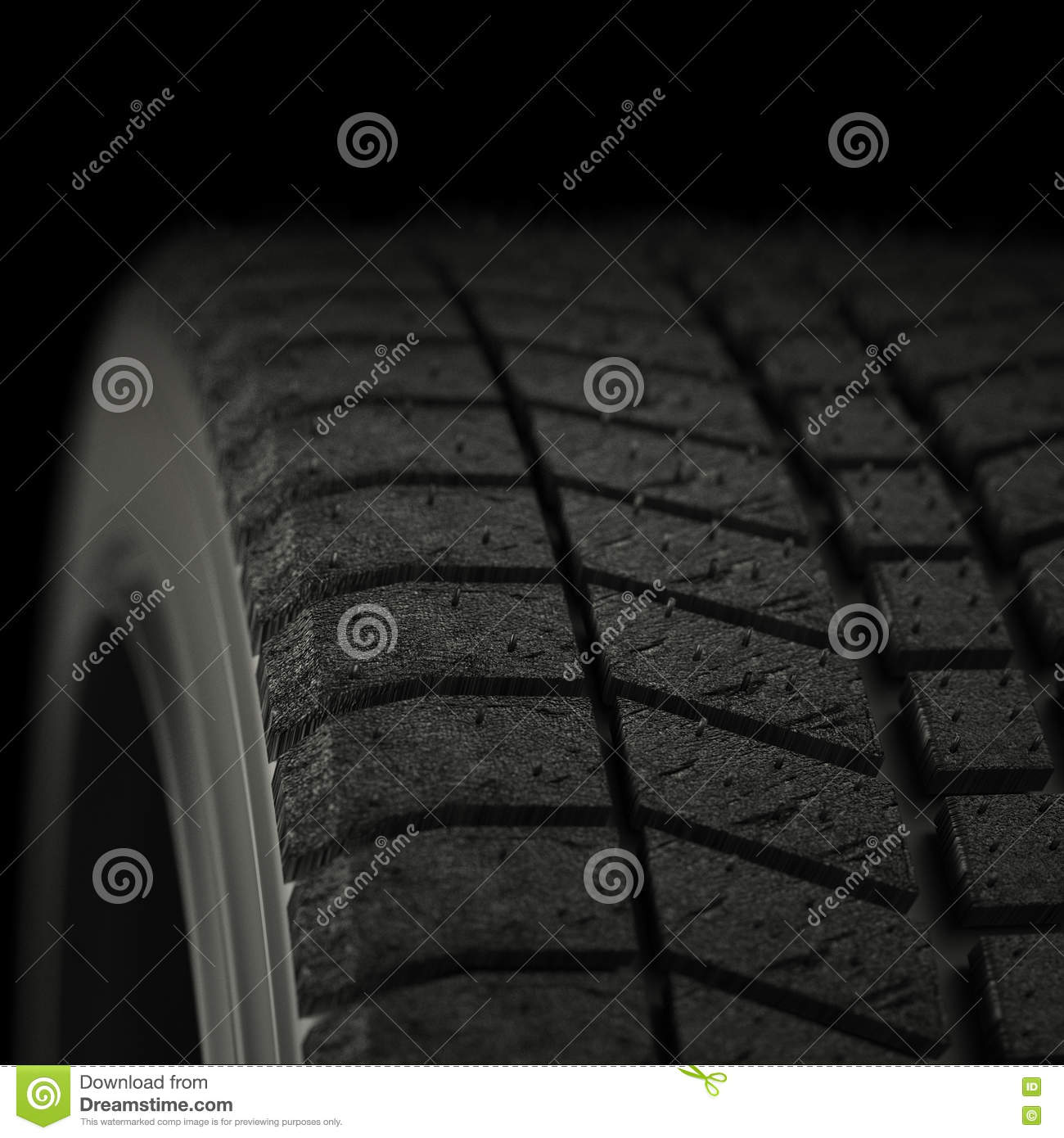 3d illustration one winter tires close up
