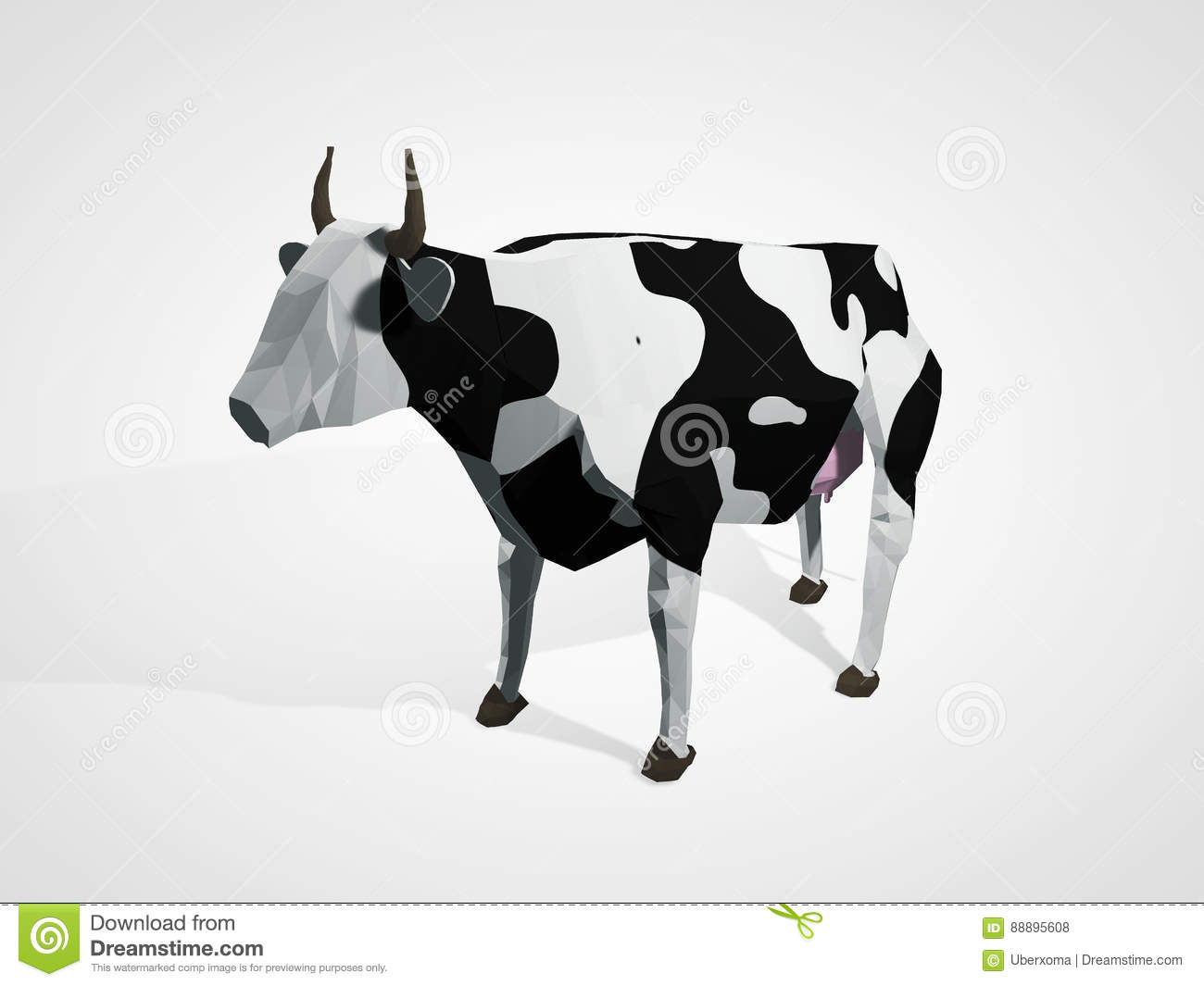 3D Illustration Of Origami Cow. Polygonal Geometric Style ...