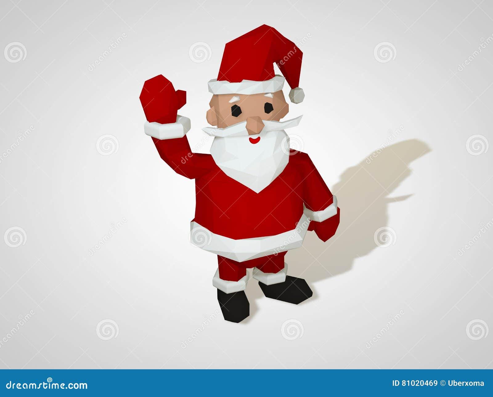 3D Illustration Of Origami Santa Claus. Polygonal ...