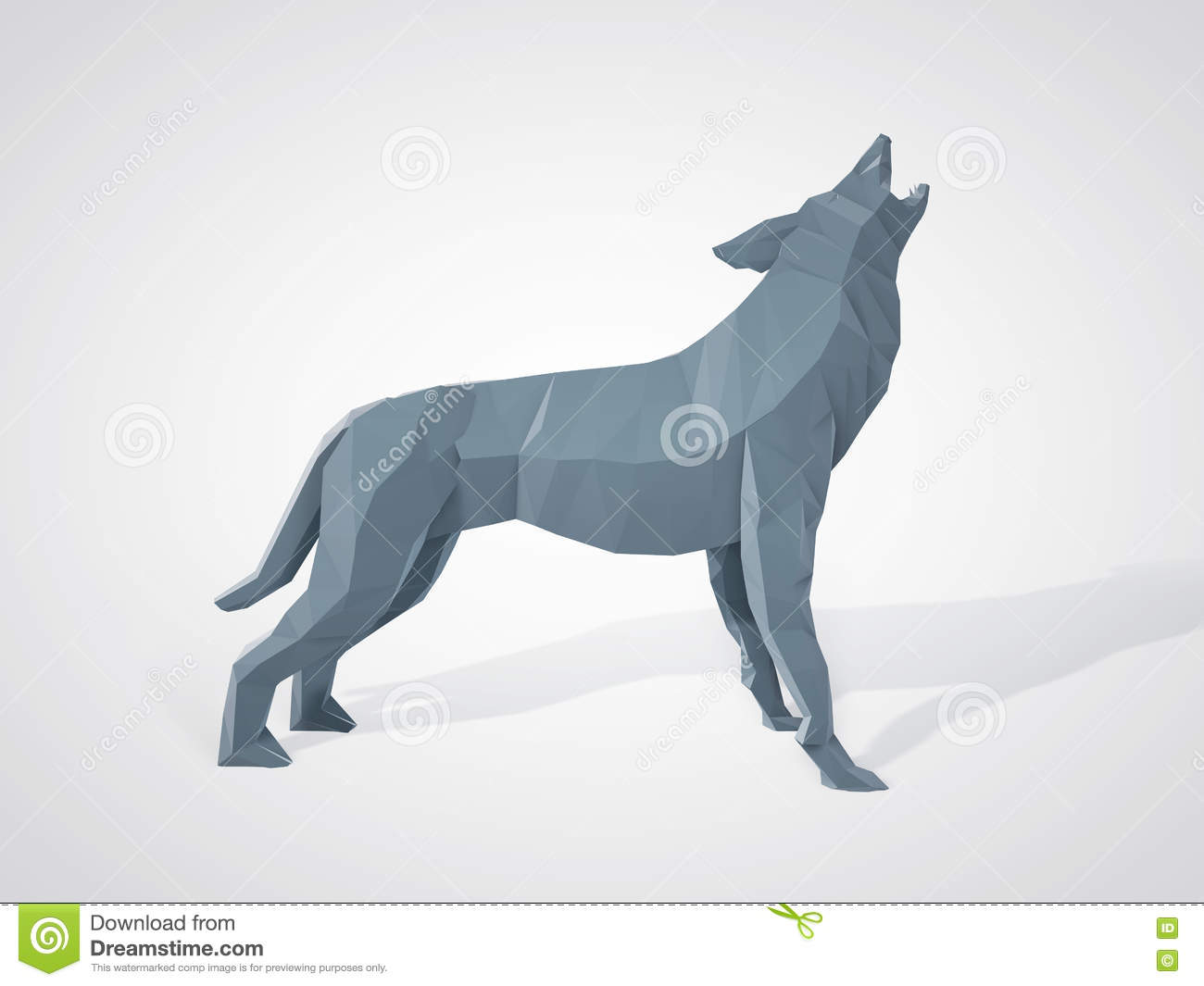 3d Illustration Of Origami Wolf Howling Polygonal Wolf Side View