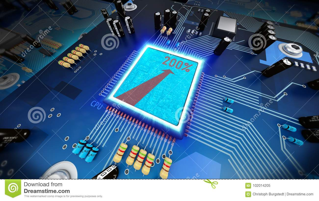 3d Illustration Of A Overclocked Computer Processor On Circuit B
