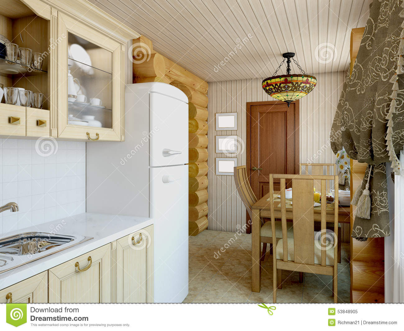 3d illustration ozy kitchen in the house of the carcass for Kitchen carcasses only