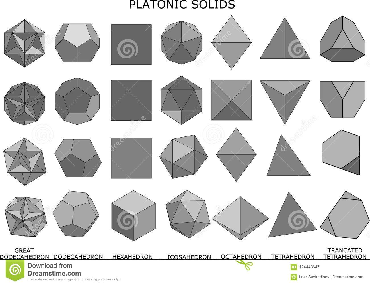 3d Illustration Of Platonic Solids Stock Illustration Illustration