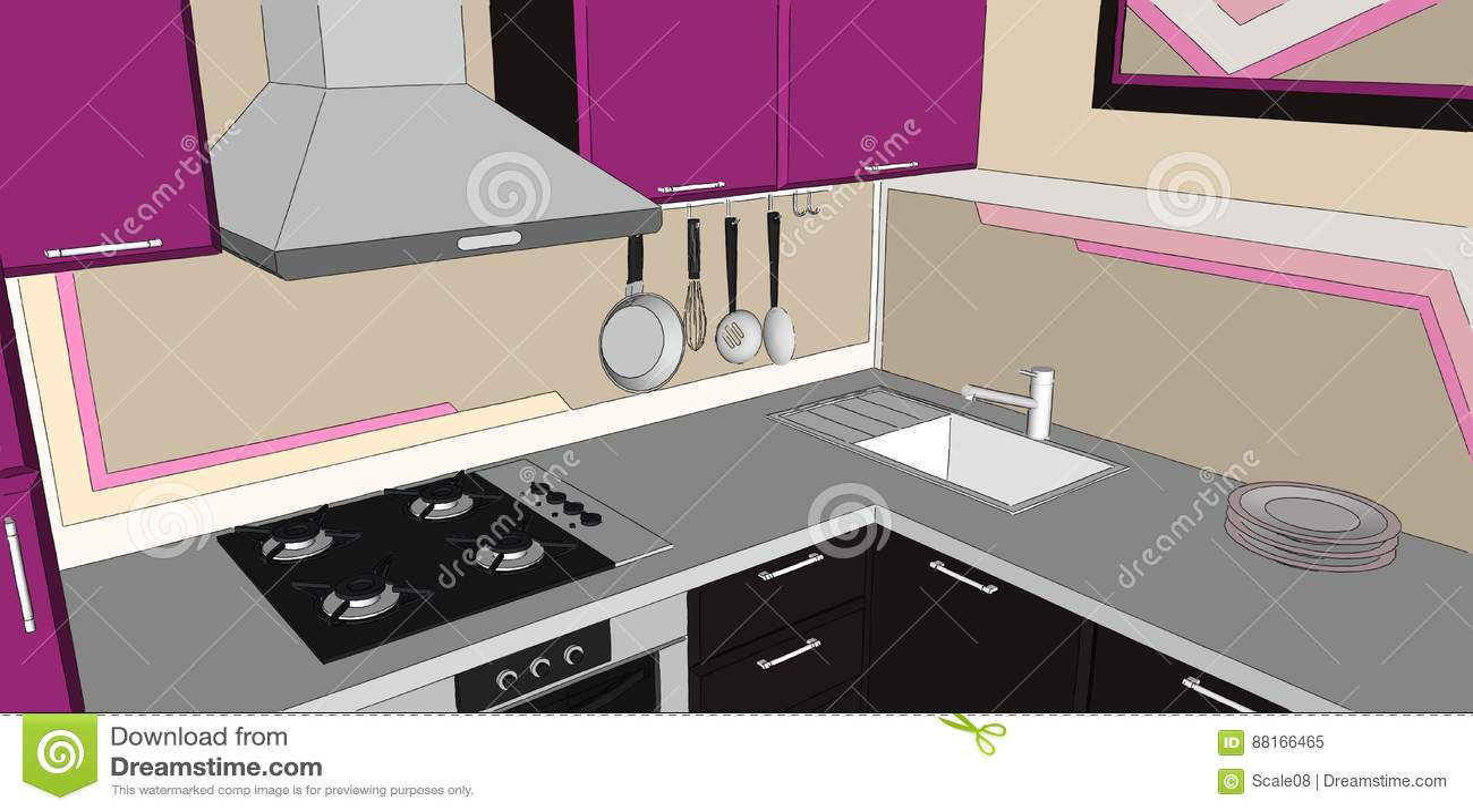 Kitchen Hob Cartoon ~ Kitchen interior with purple wall cartoon vector