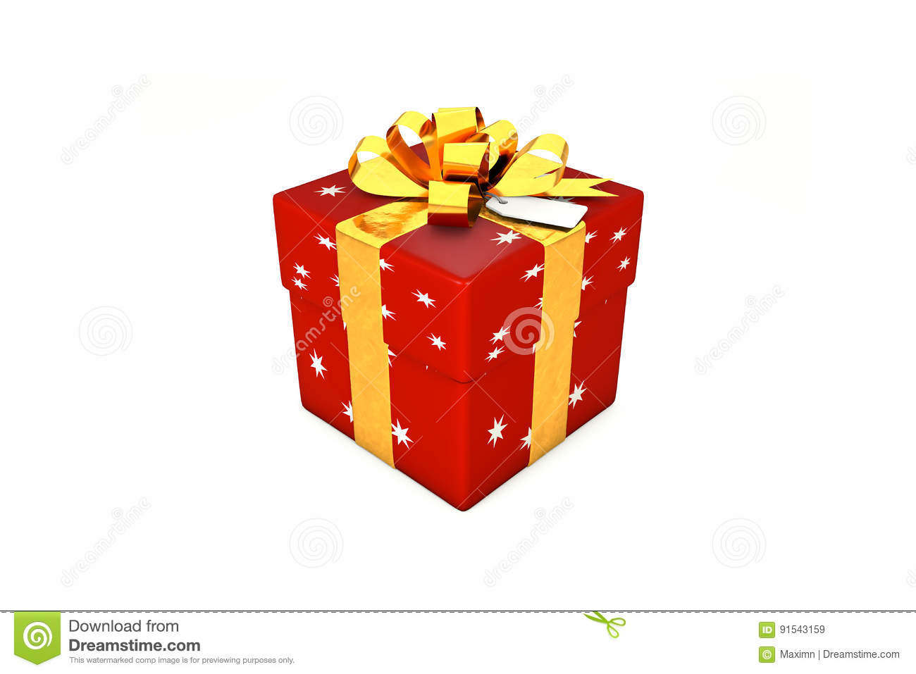 3d illustration: Red-scarlet gift box with star, golden metal ribbon / bow and tag on a white background isolated.