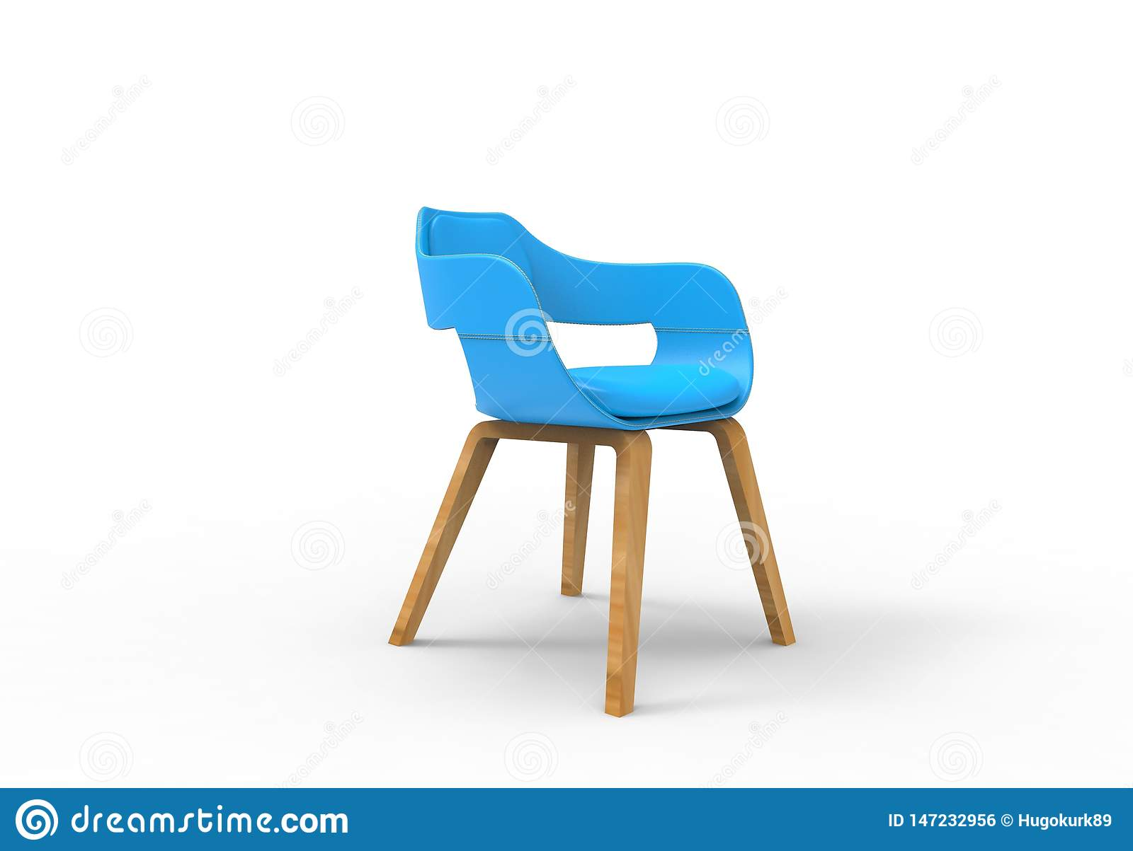 3D illustration rendering of a light blue round leather design chair