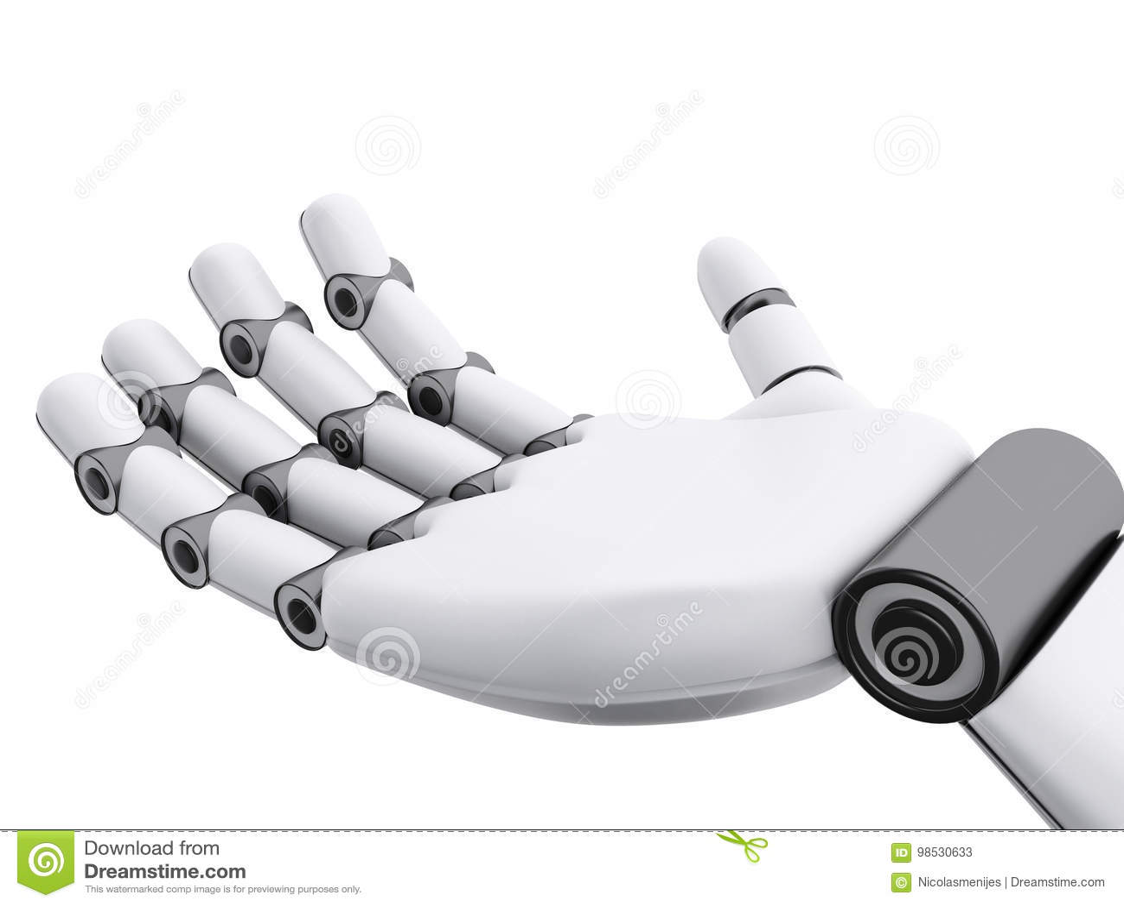 3d illustration. Robotic hand showing something