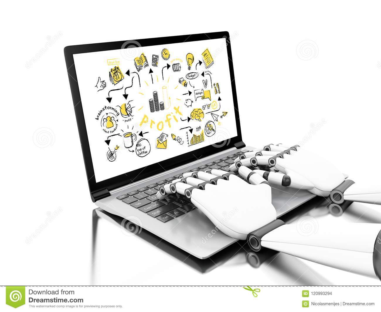 3d illustration. Robotic hands typing on a laptop with business