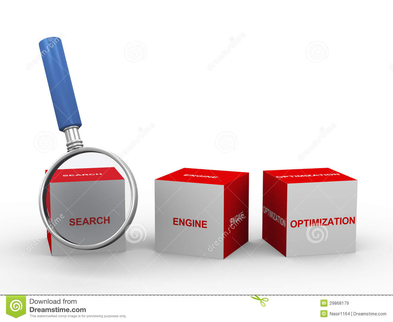 3d Seo Box And Magnifier Royalty Free Stock Images