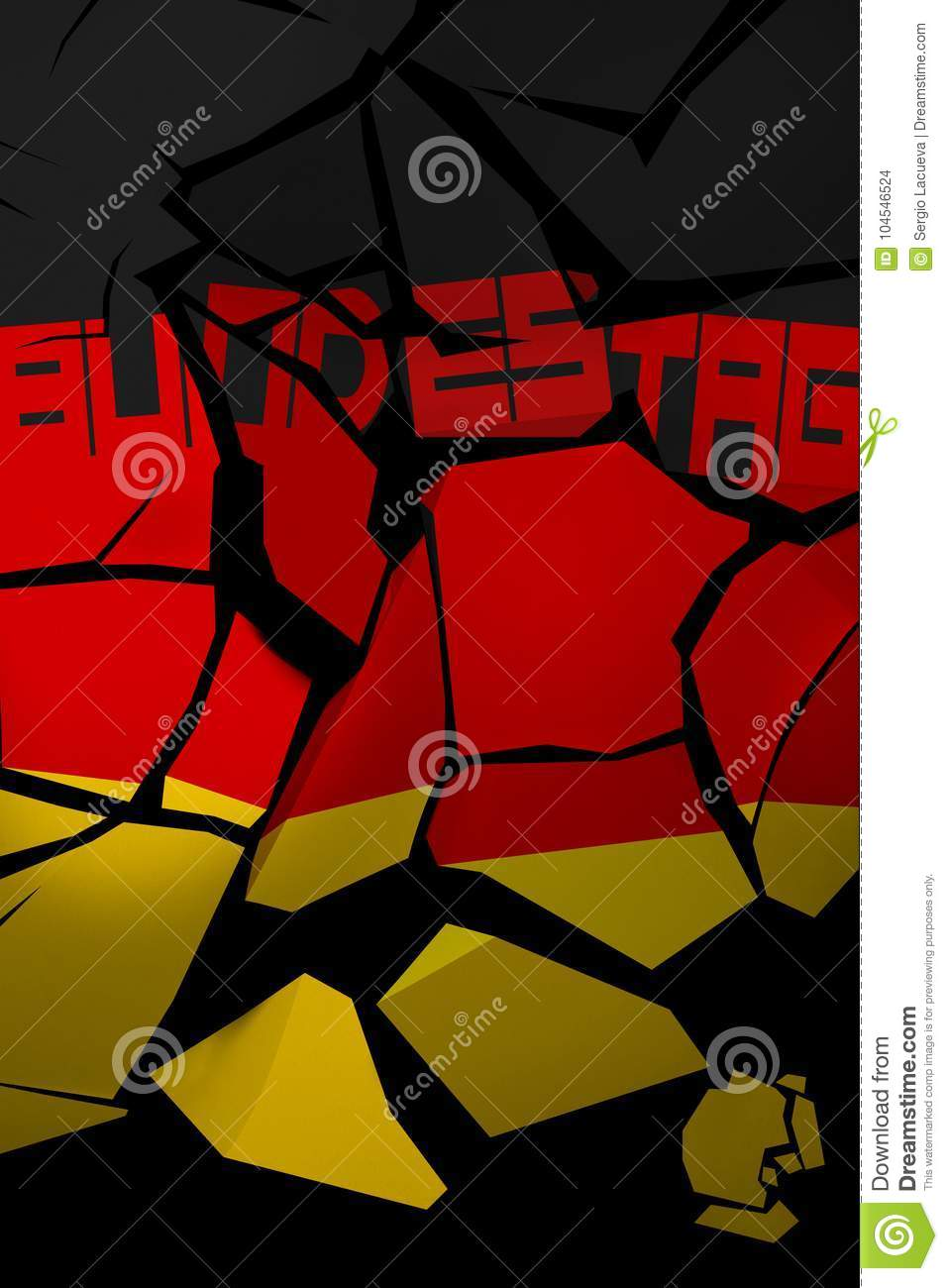 3D Illustration of a shattered Germany flag with the German word for Parliament.