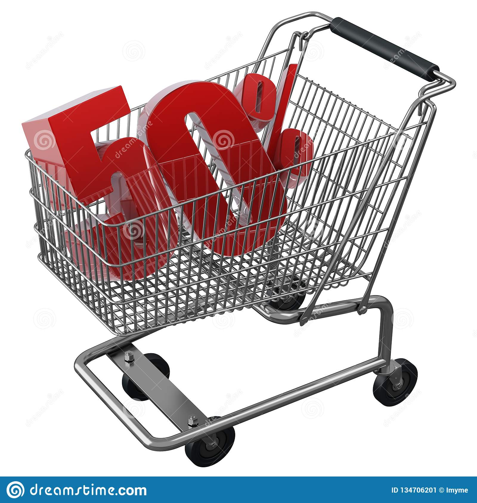 3D illustration of Shopping cart with 50 pocent discount in red isolated