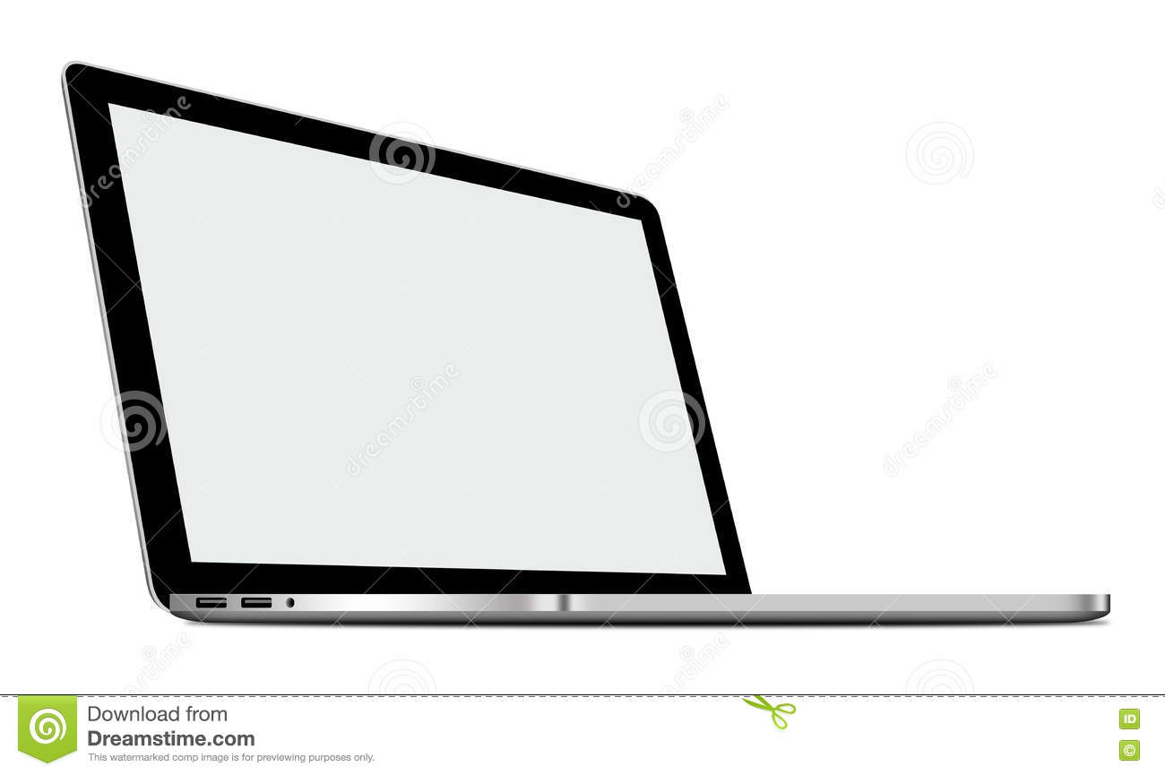 3d illustration of silver laptop isolated on white stock illustration