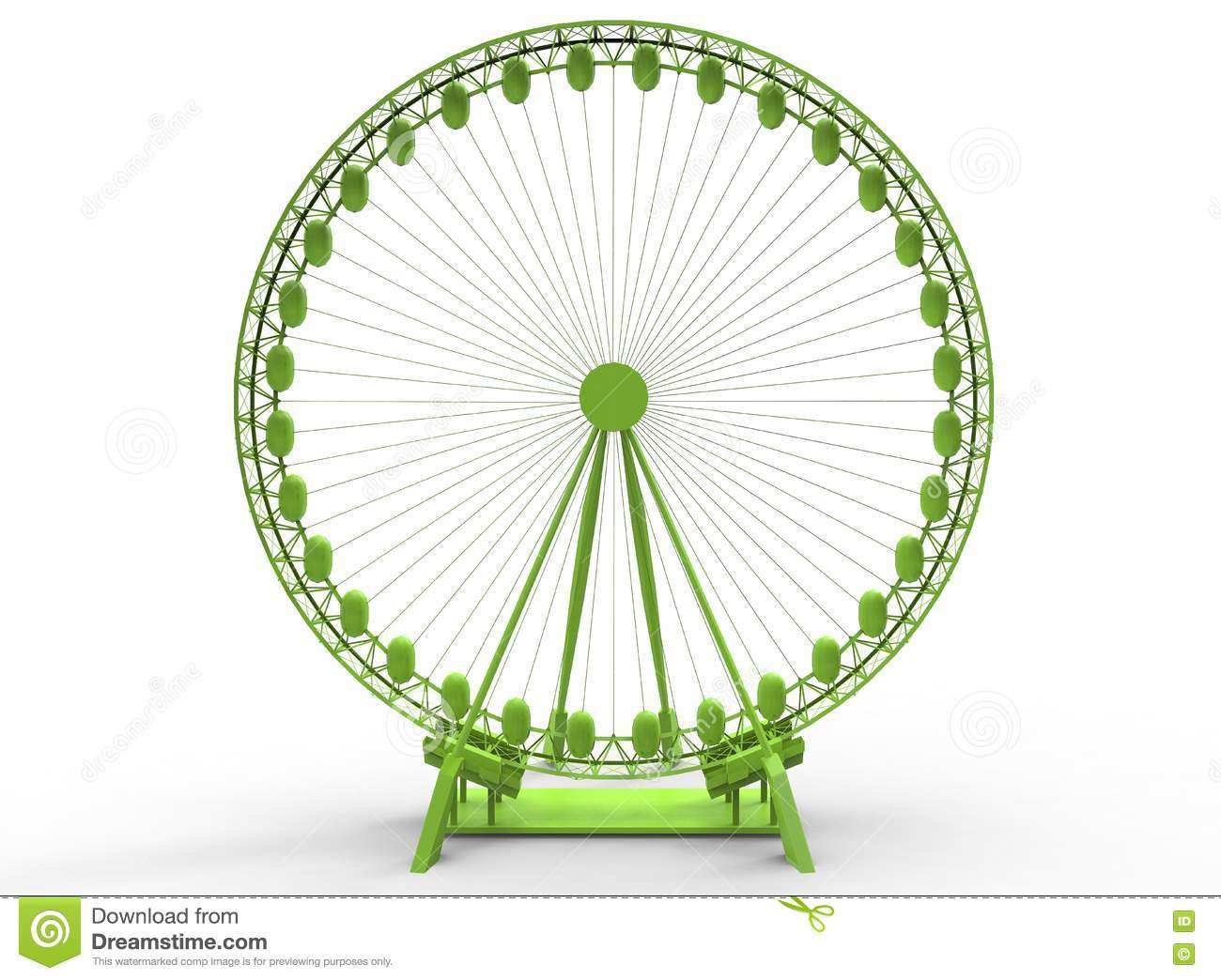 3d illustration of simple ferris wheel with texas word