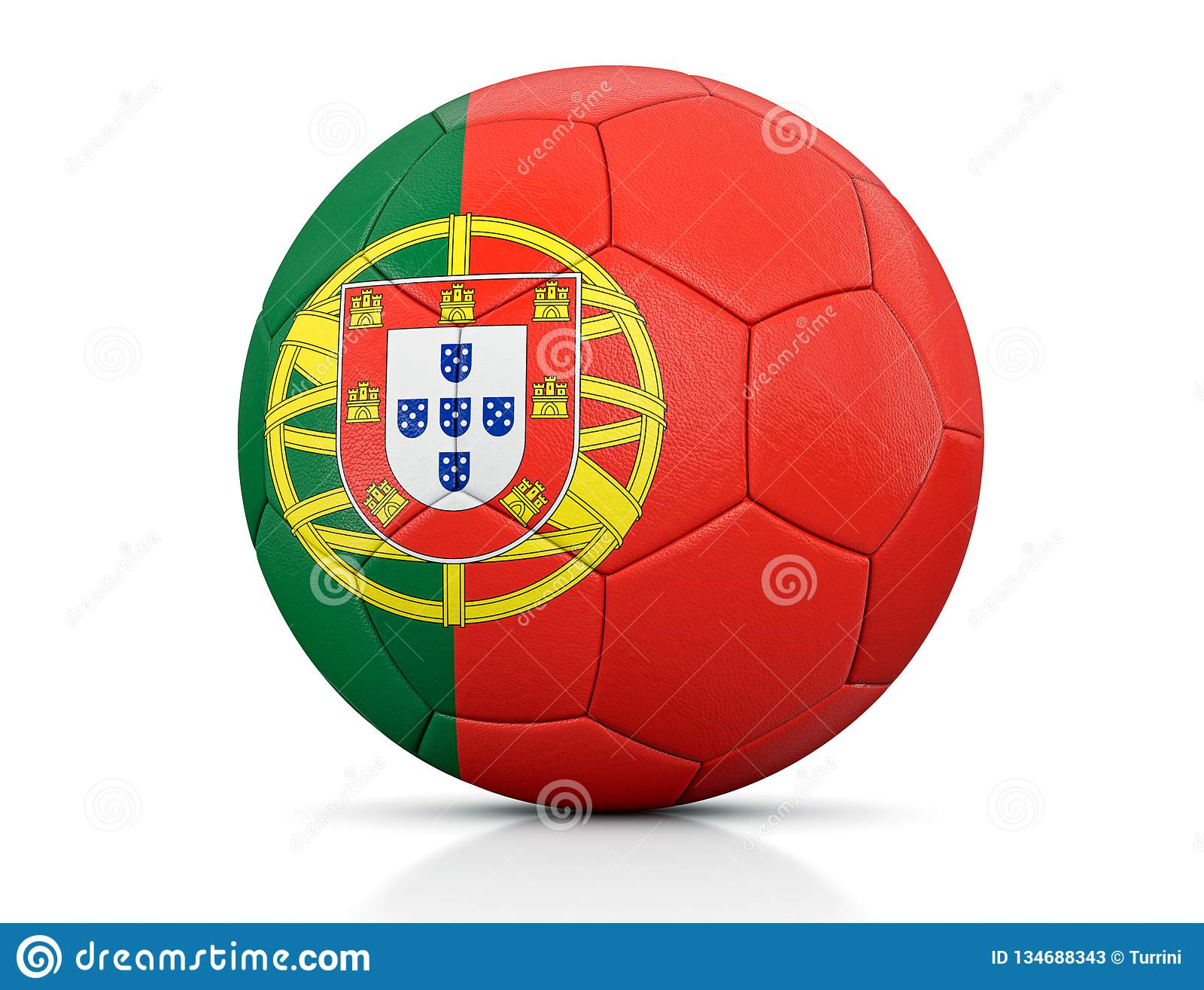 Soccer Ball, Classic Soccer Ball Painted With The Colors Of The Flag Of Portugal And Apparent ...