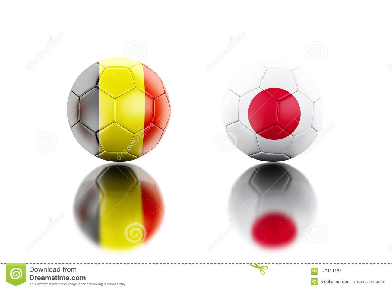 5285c2710 3d Soccer Balls With Belgium And Japan Flags. Stock Illustration ...