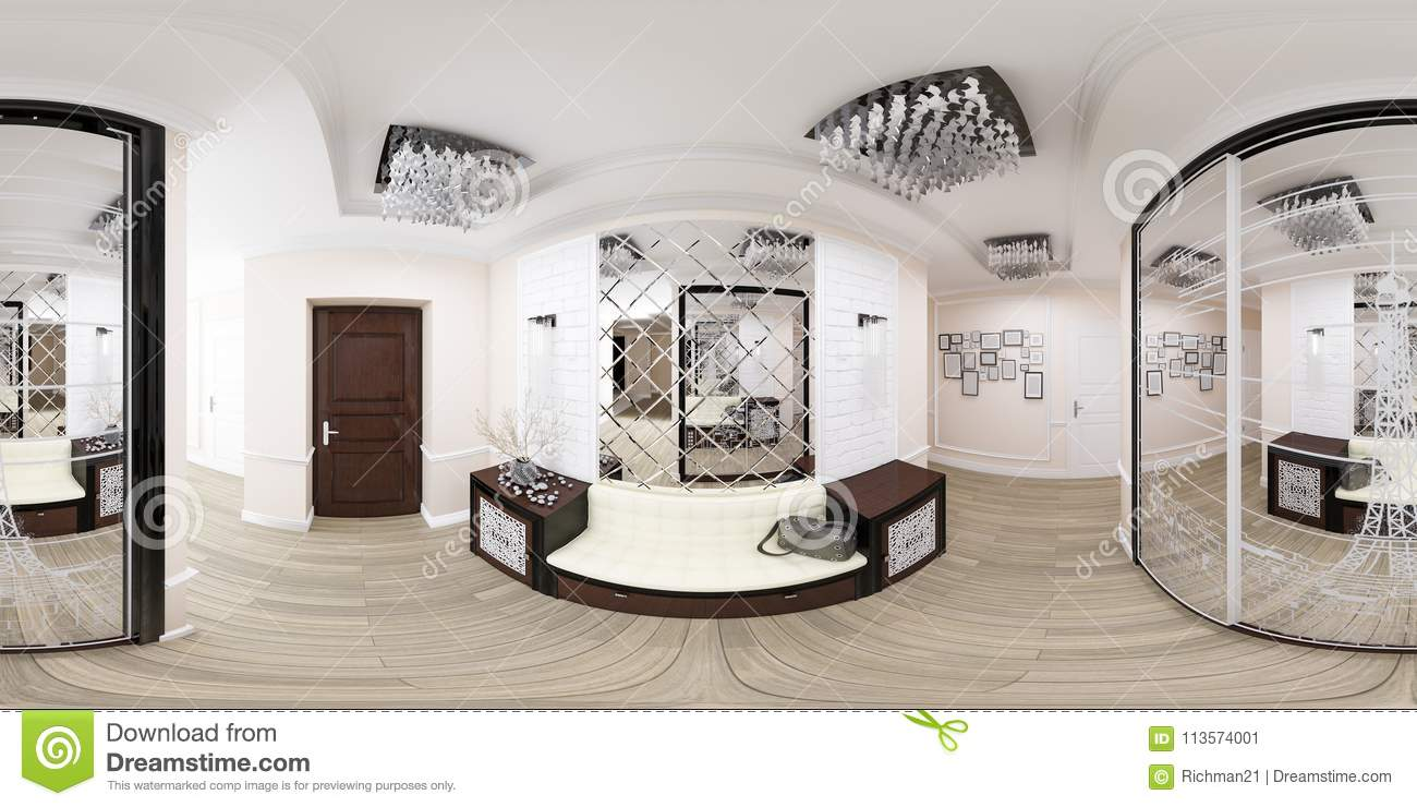3d Illustration Spherical 360 Degrees Seamless Panorama Of Hallway Interior Design Modern Studio Apartment In A Art Deco Style