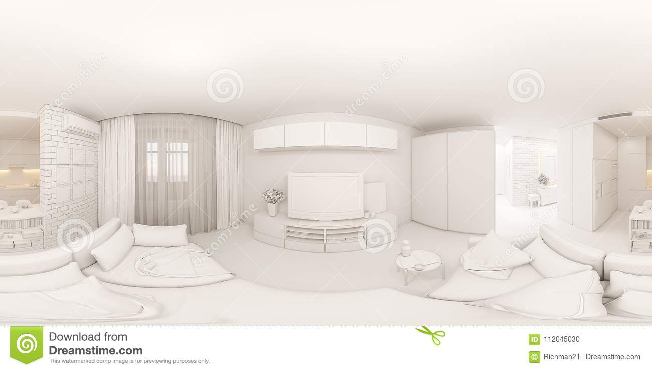 3d illustration spherical 360 degrees seamless panorama interior of the living room hall and kitchen. The interior design of the euro is a two room ... & 3d Illustration Spherical 360 Degrees Seamless Panorama Interio ...