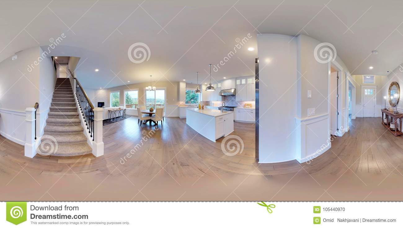 Delicieux 3d Illustration Spherical 360 Degrees, Seamless Panorama Of The Room And Interior  Design. Modern Luxury House In Washington State 3D Rendering.