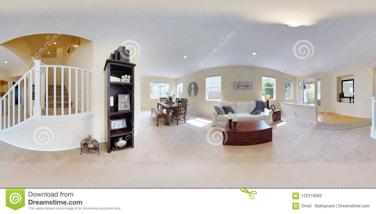 3d Illustration Spherical 360 Degrees, A Seamless Panorama Of Home Interior.