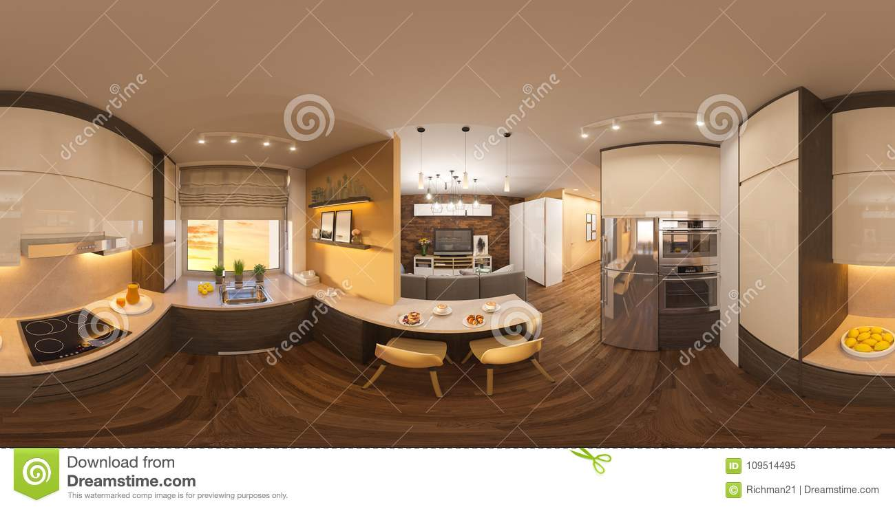 Outstanding 3D Illustration Spherical 360 Degrees Seamless Panorama Of Interior Design Ideas Clesiryabchikinfo