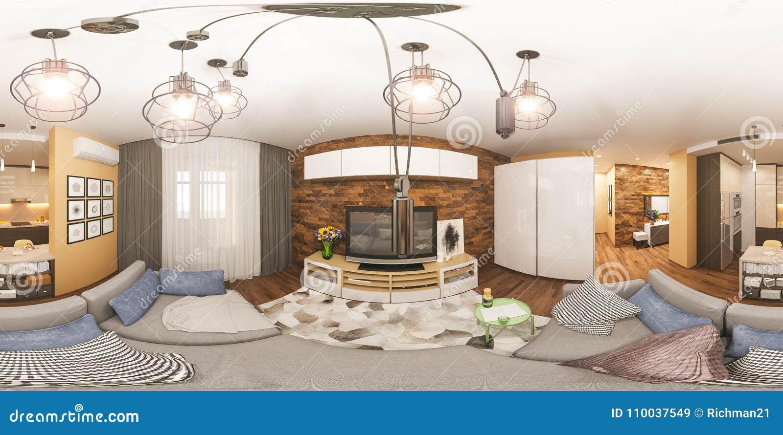 Surprising 3D Illustration Spherical 360 Degrees Seamless Panorama Of Interior Design Ideas Clesiryabchikinfo