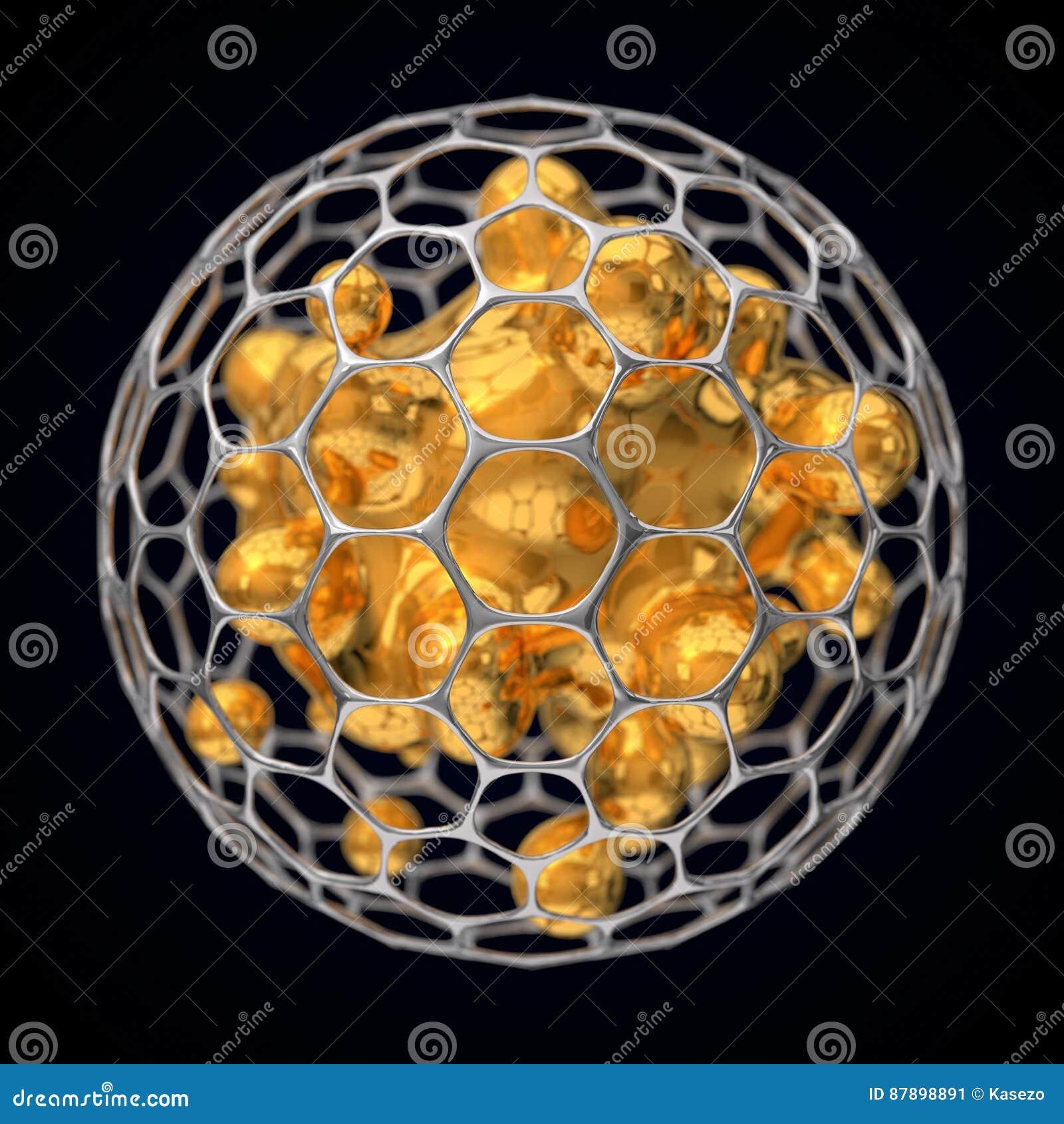 3d illustration of spherical graphene structure.