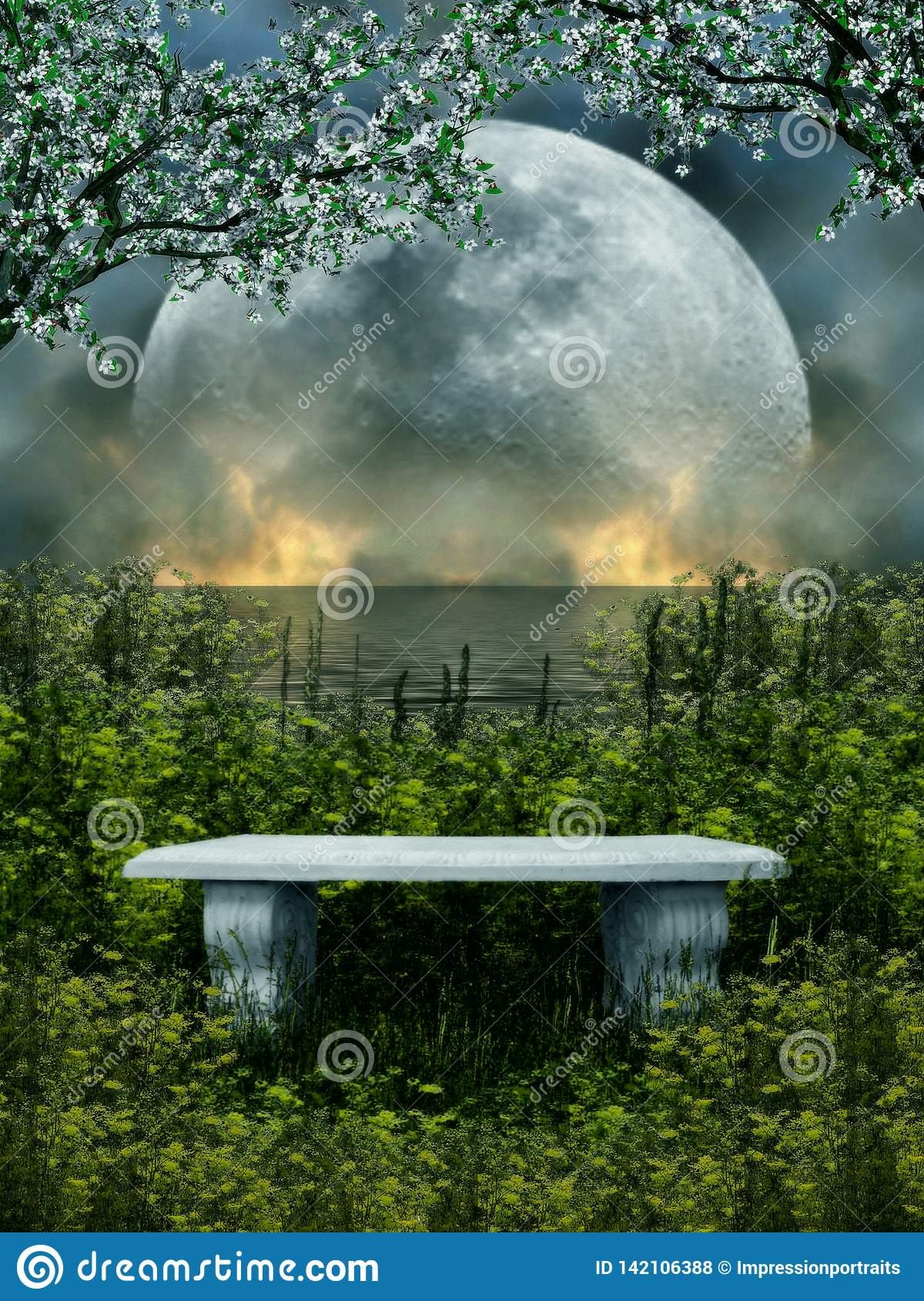 3D Illustration Of A Stone Seat Isolated With Nature And Moon In