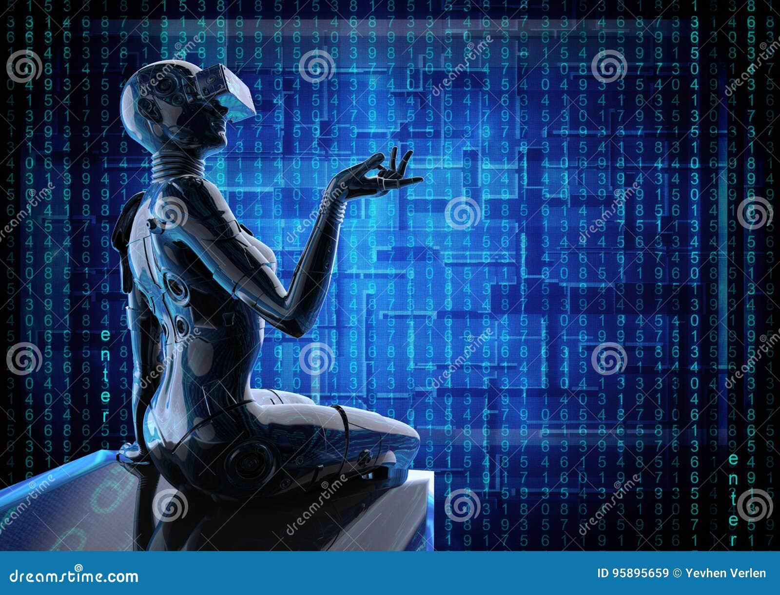3D Illustration  The Stylish Cyborg The Woman  Stock