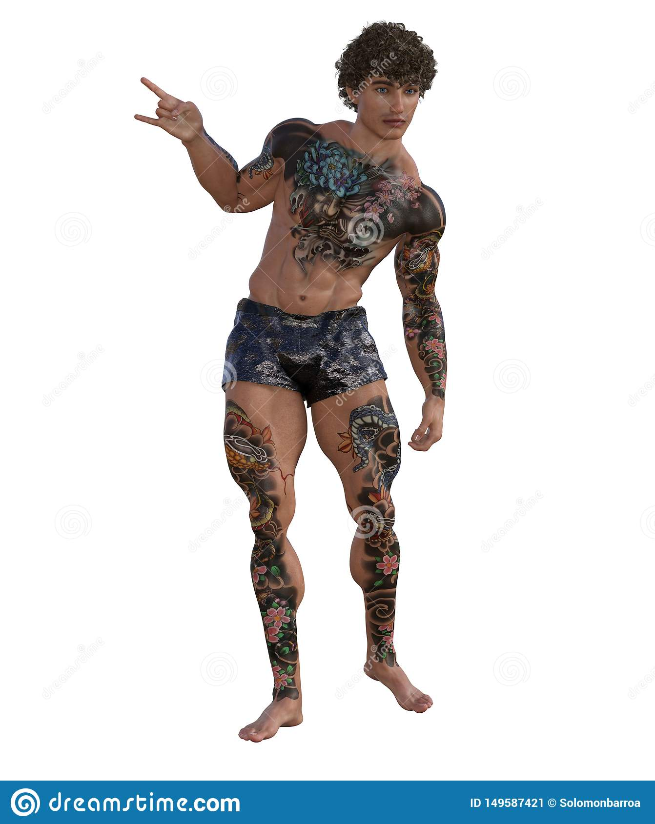 3D Illustration of a tattooed muscular man