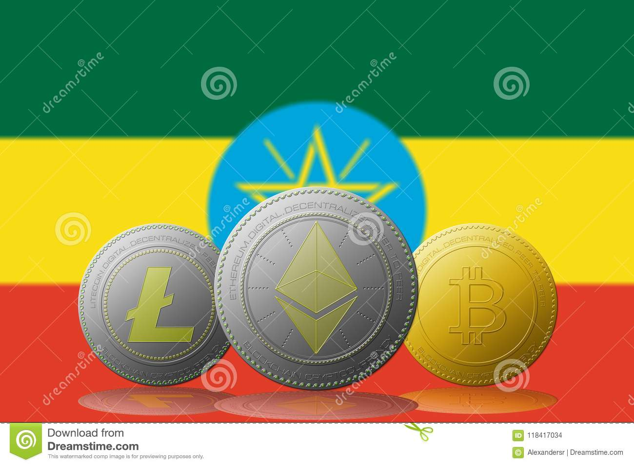 3d Illustration Three Cryptocurrencies Bitcoin Ethereum And Litecoin