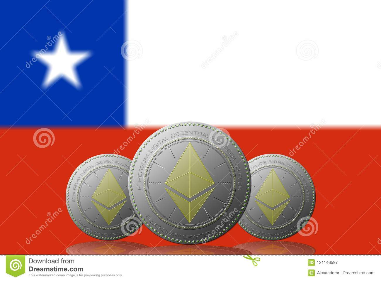 3d Illustration Three Ethereum Cryptocurrency With Chile Flag On