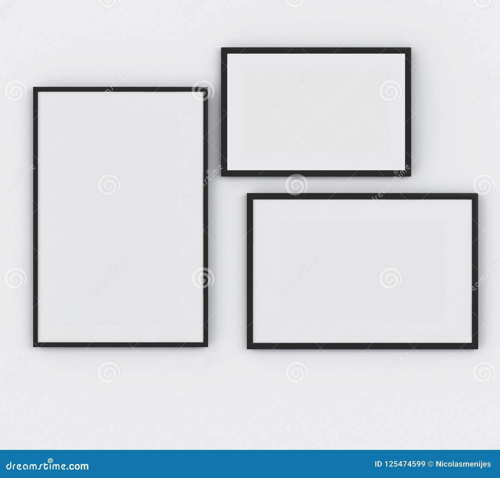 3d Three Frame Poster Mockup Concept Stock Illustration