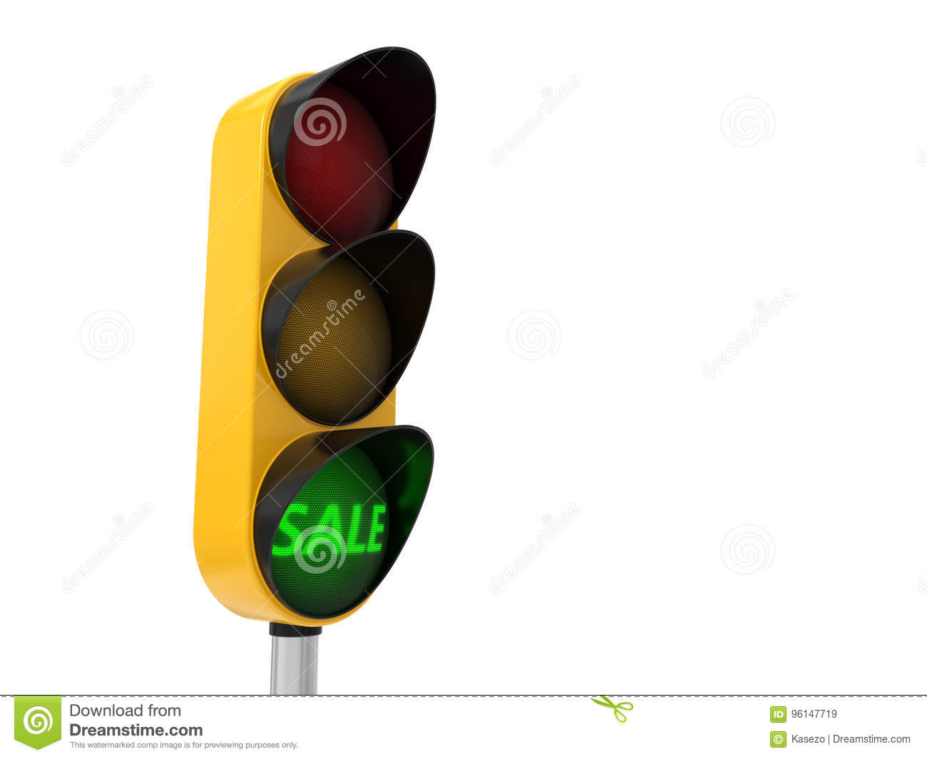 Traffic Light For Sale >> 3d Illustration Of Traffic Light With Sale Text Stock