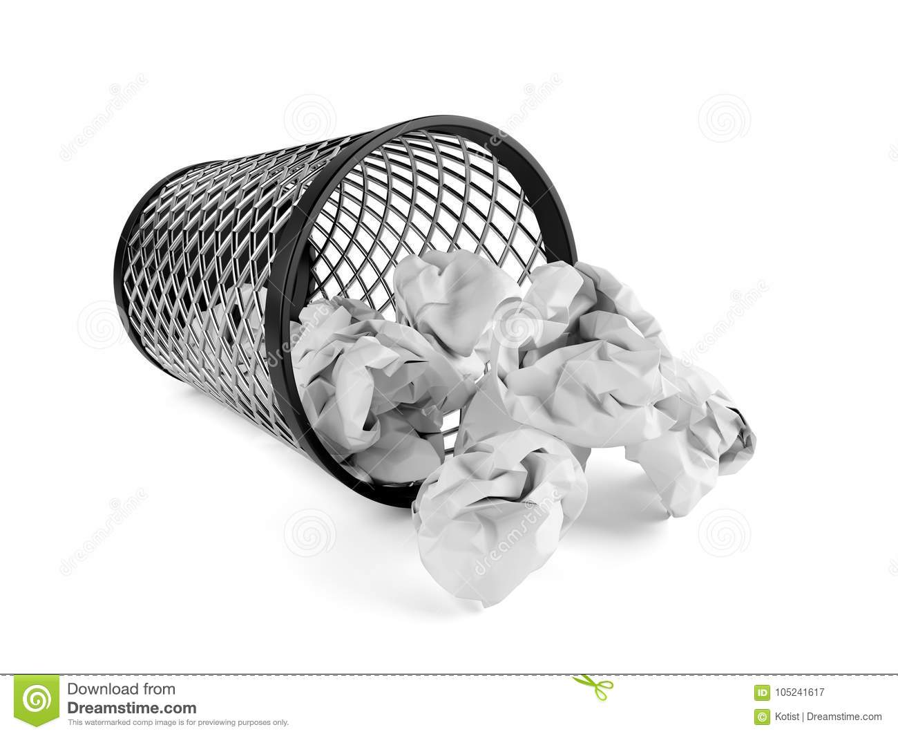Trash bin dropped with crumpled paper