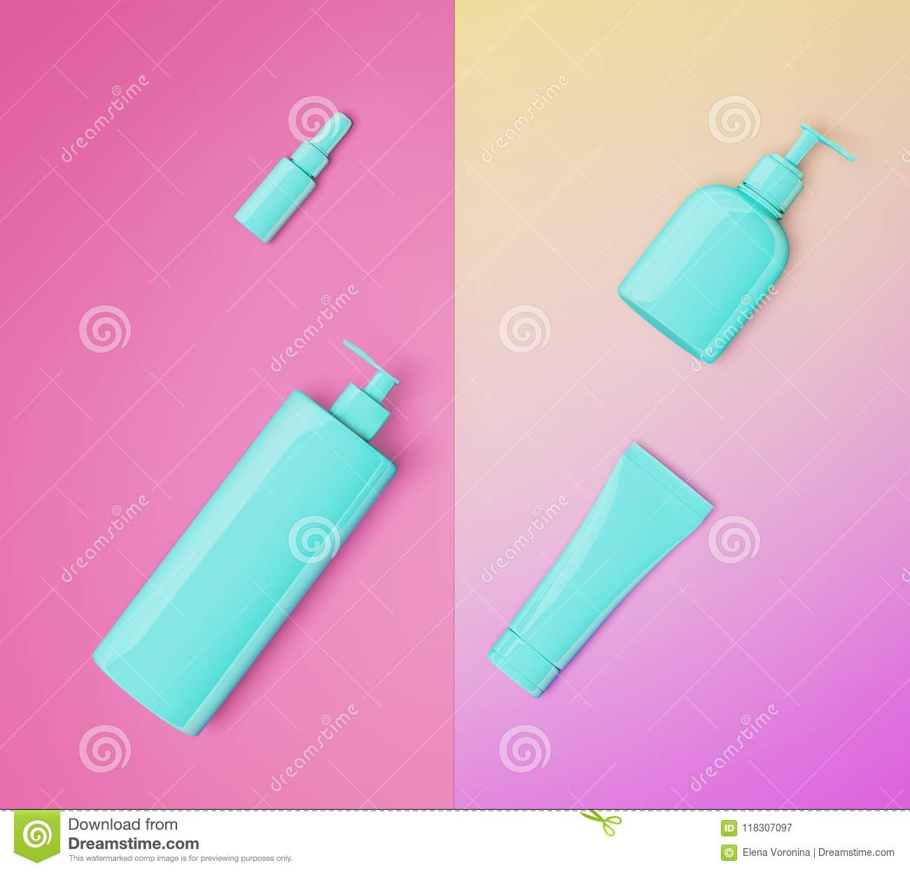 3d Illustration Of Trendy Cosmetic Set Mock Up  Stock Illustration