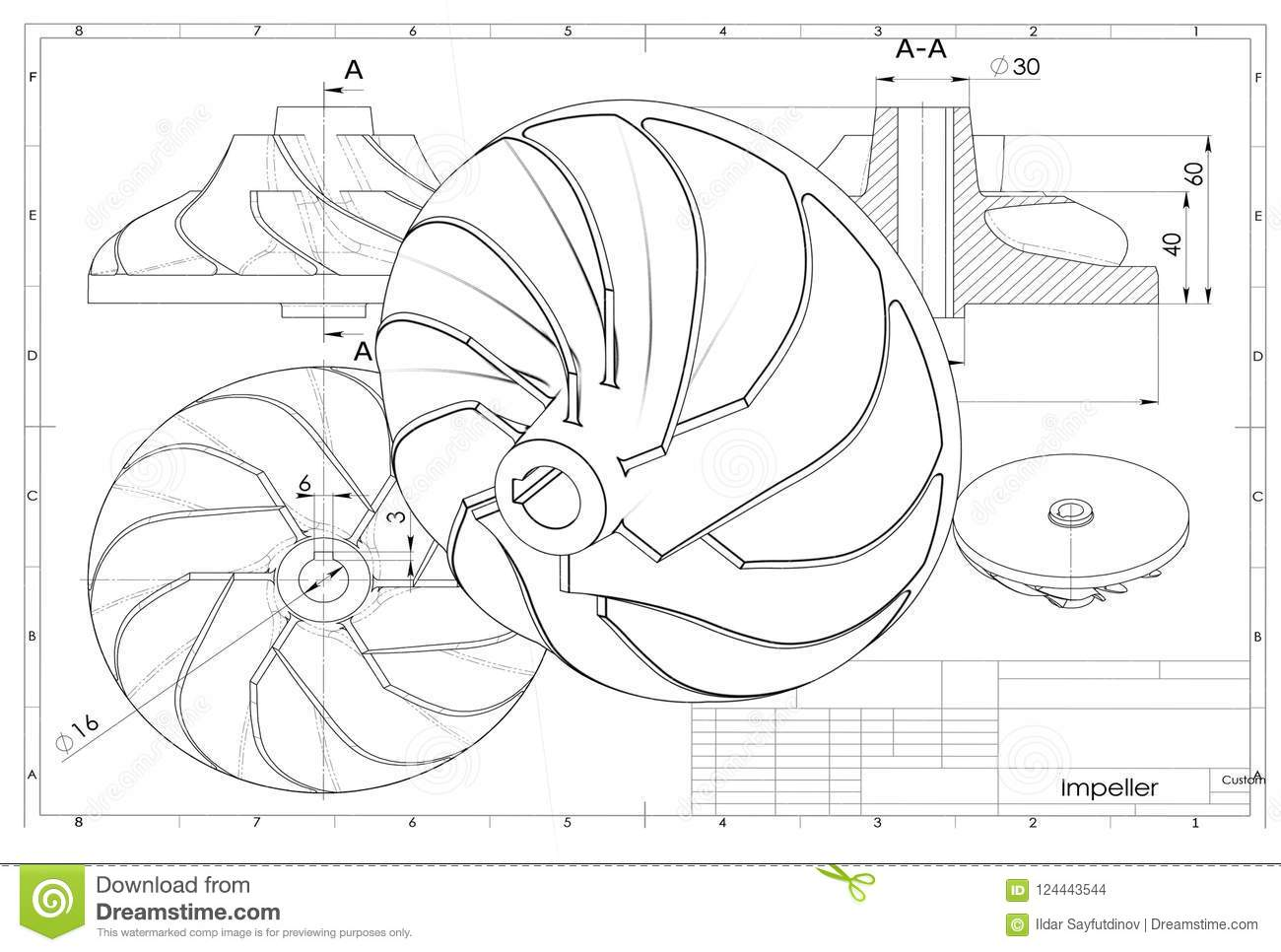 3d illustration of turbo impeller stock illustration