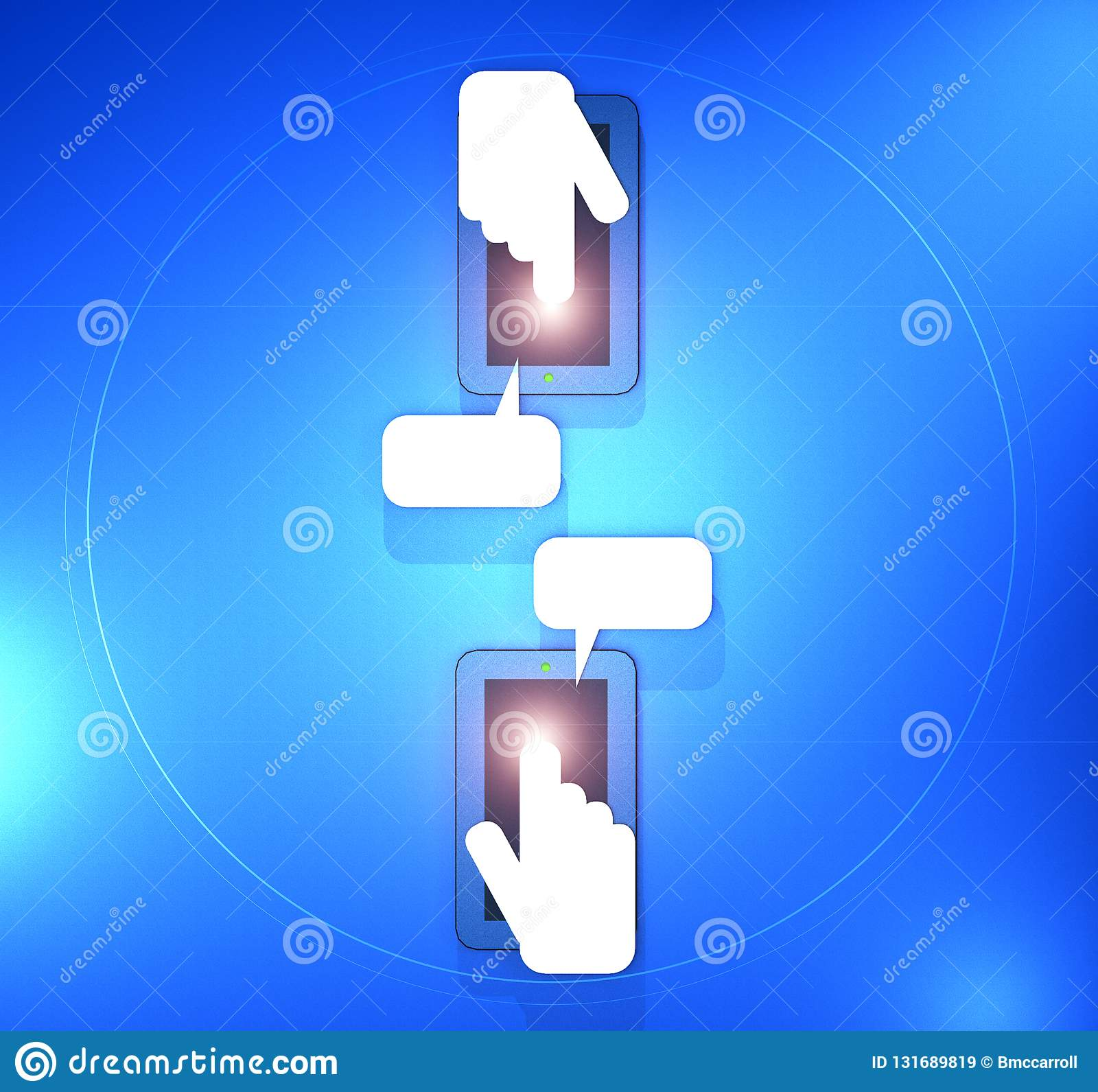 A 3D Illustration of two mobile phones with hands and fingers texting