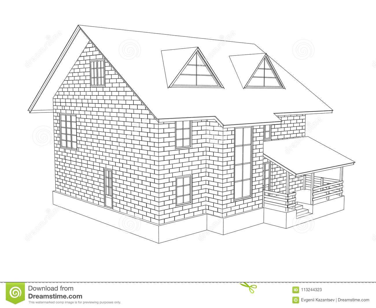 Download 3d Illustration Of A Two Storey Cottage House Line Drawing Walls From