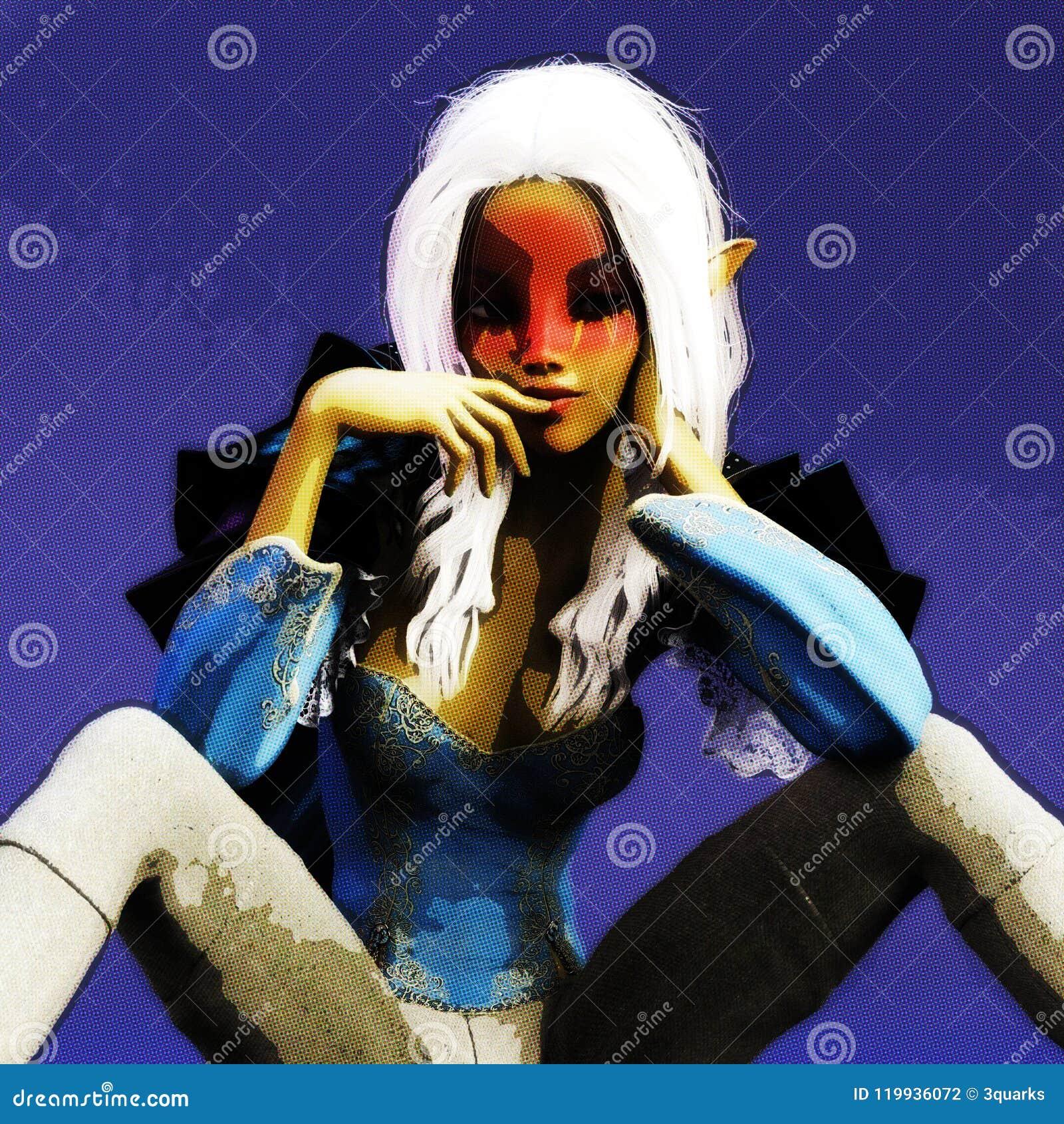3D illustration d une femme d imagination, modèle de Digital