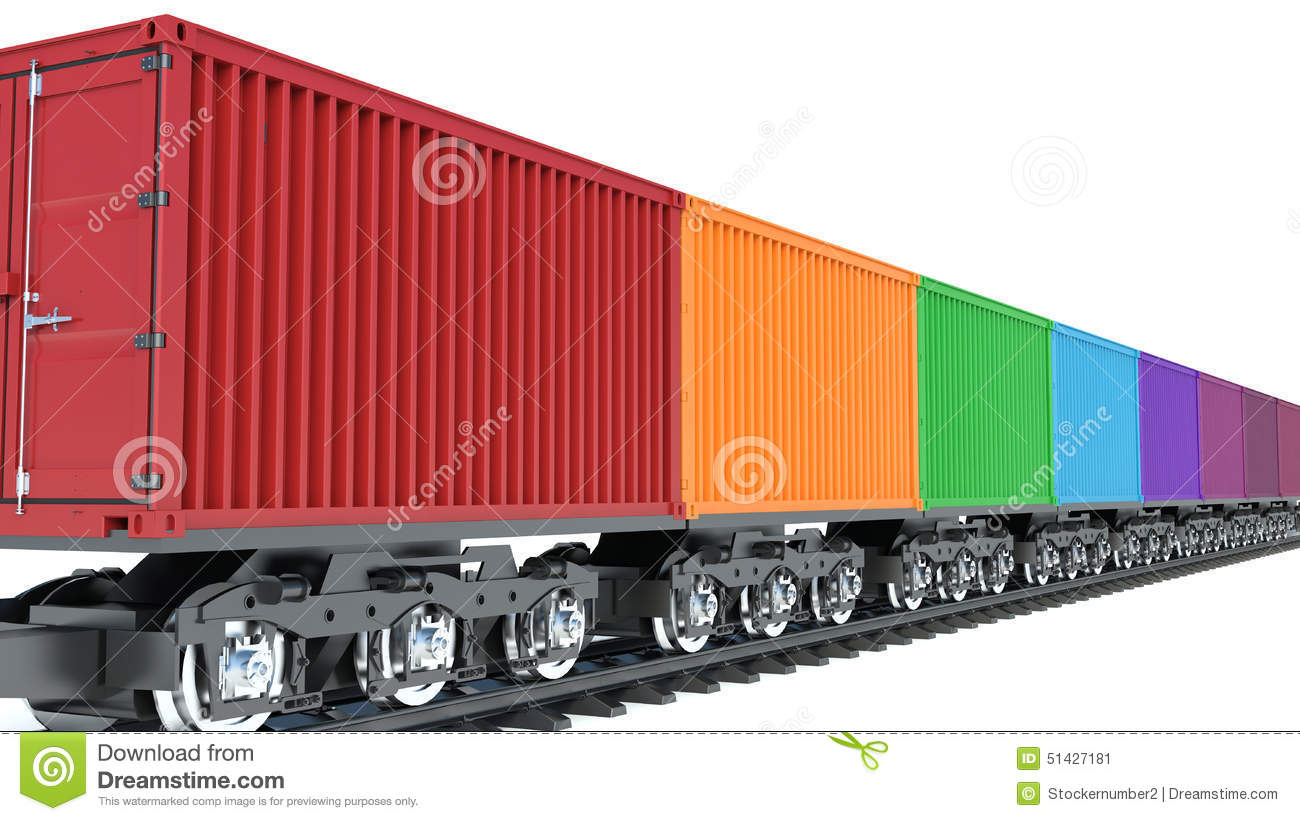 3d Illustration Of Wagon Of Freight Train With Containers Stock ... | 1300 x 821 jpeg 128kB