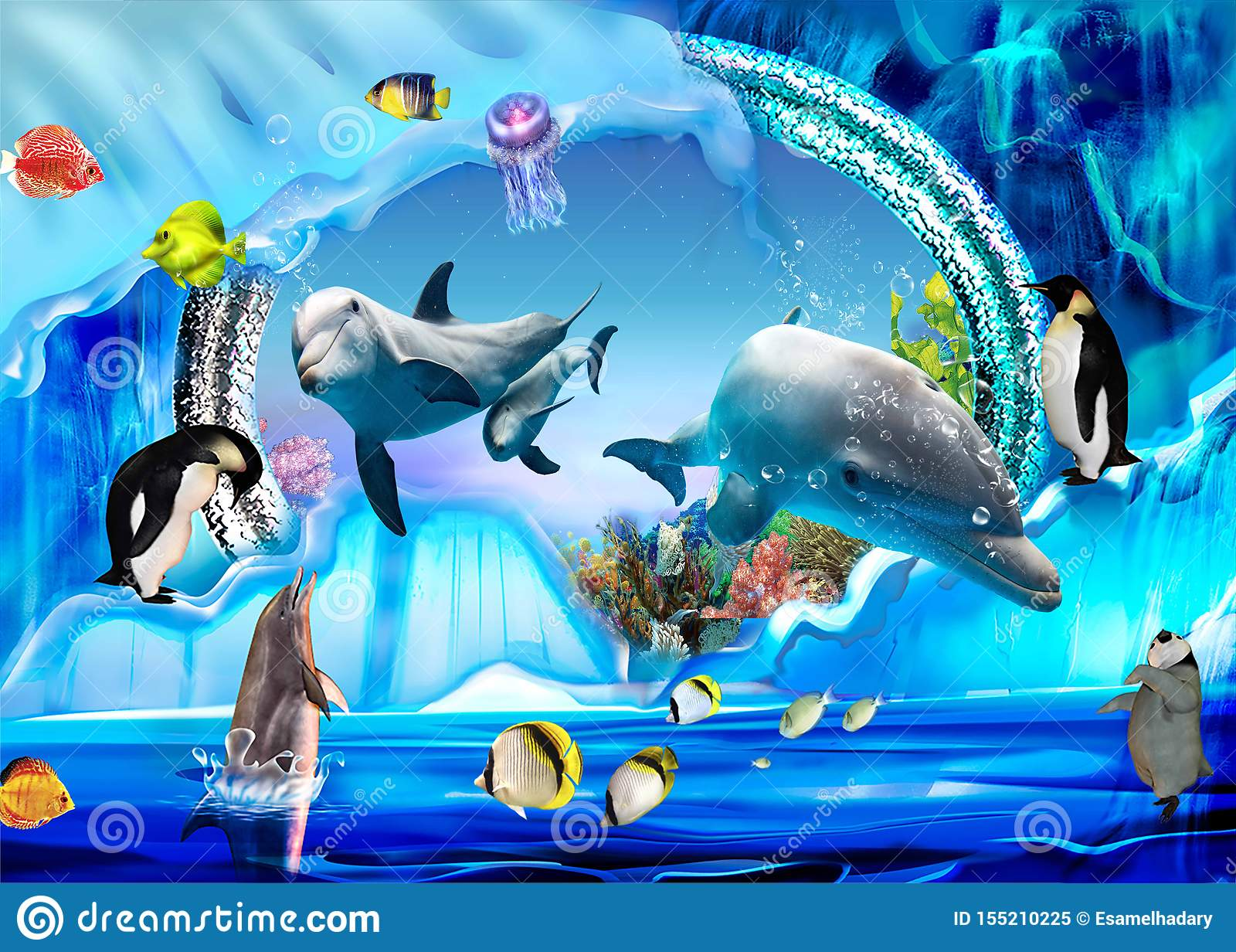 3d Illustration Wallpaper Under Sea Dolphin Fish Tortoise Coral Reefsand Water With A Snowman Is A Penguin Stock Illustration Illustration Of Nature Reefs 155210225