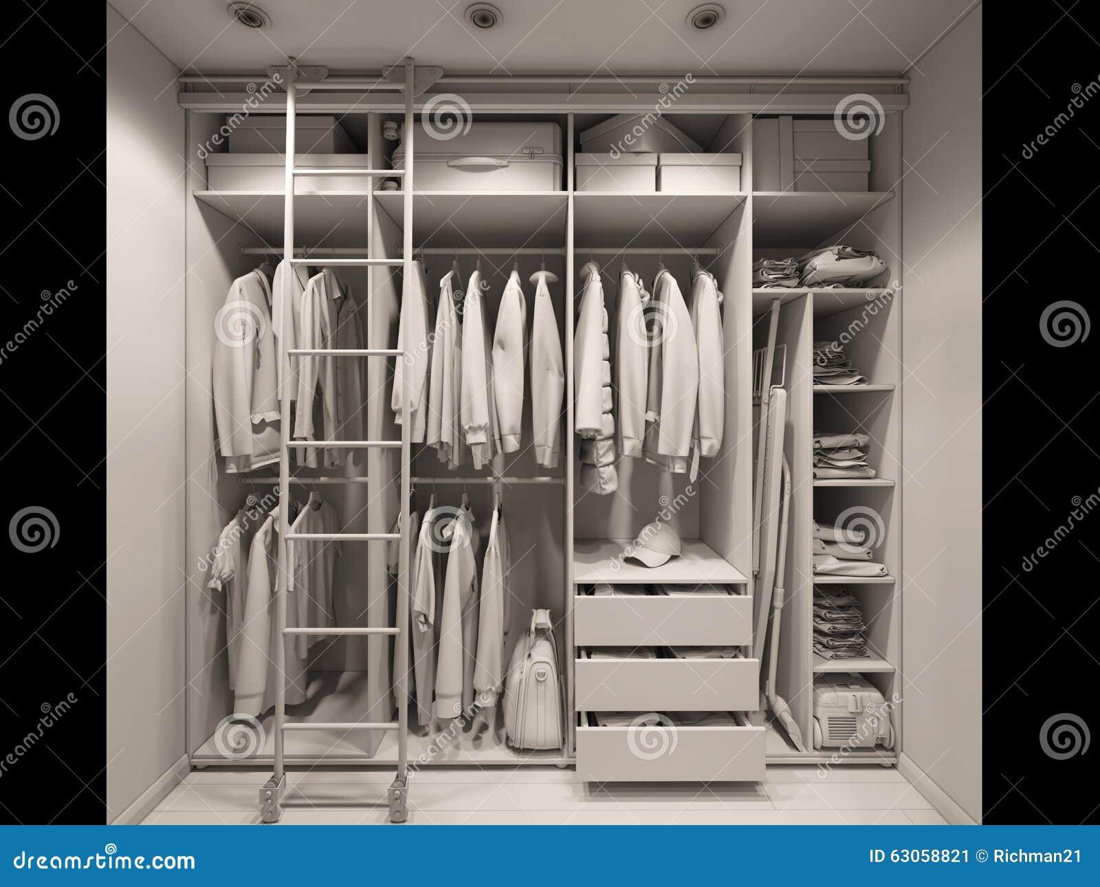 3d Illustration Of The Wardrobe Room In Light Tones