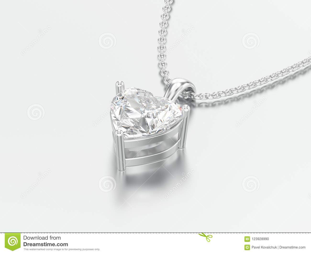 3D illustration white gold or silver big heart diamond necklace