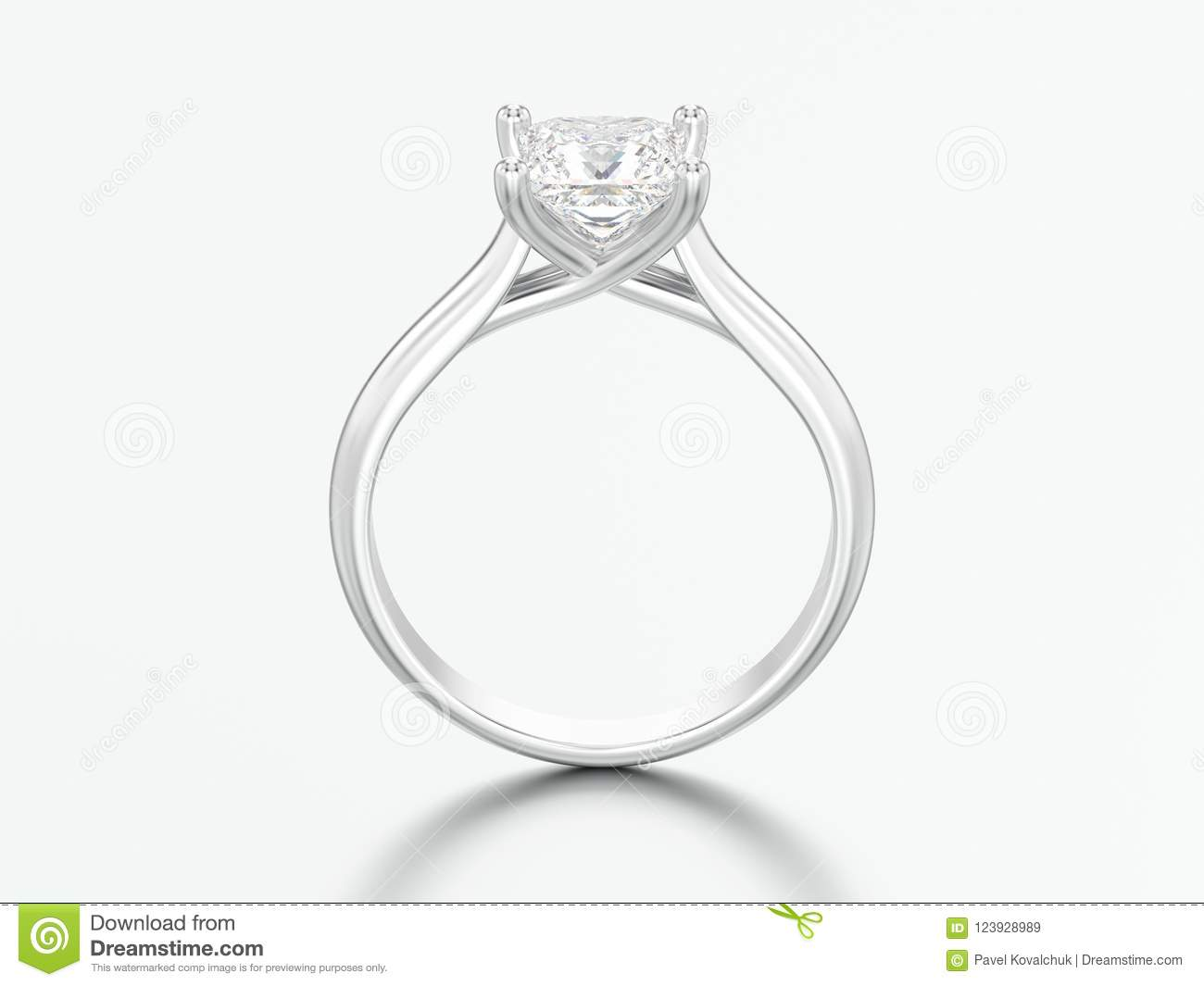3D illustration white gold or silver engagement illusion twisted