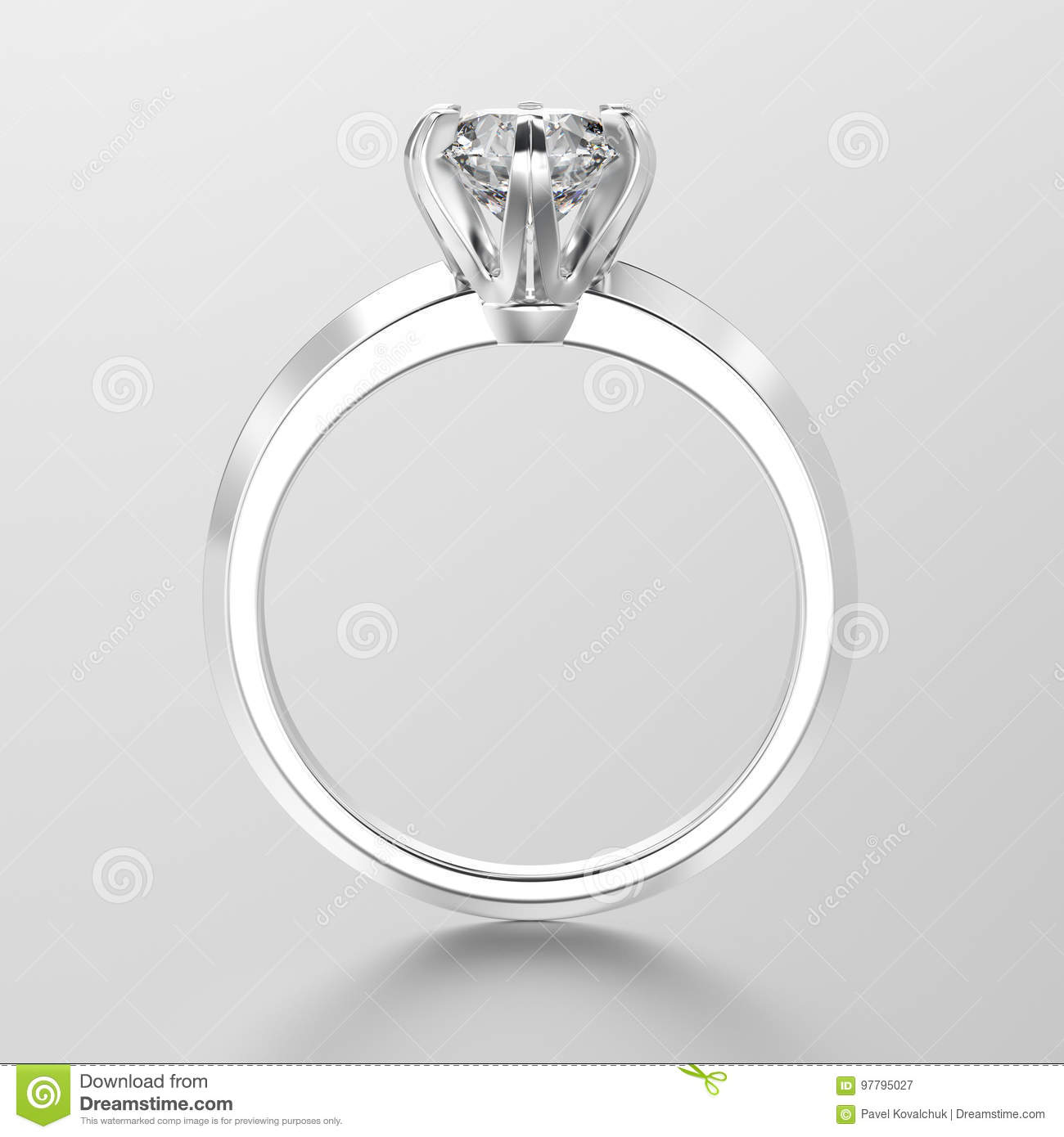 3D illustration white gold or silver traditional solitaire engagement ring with diamond