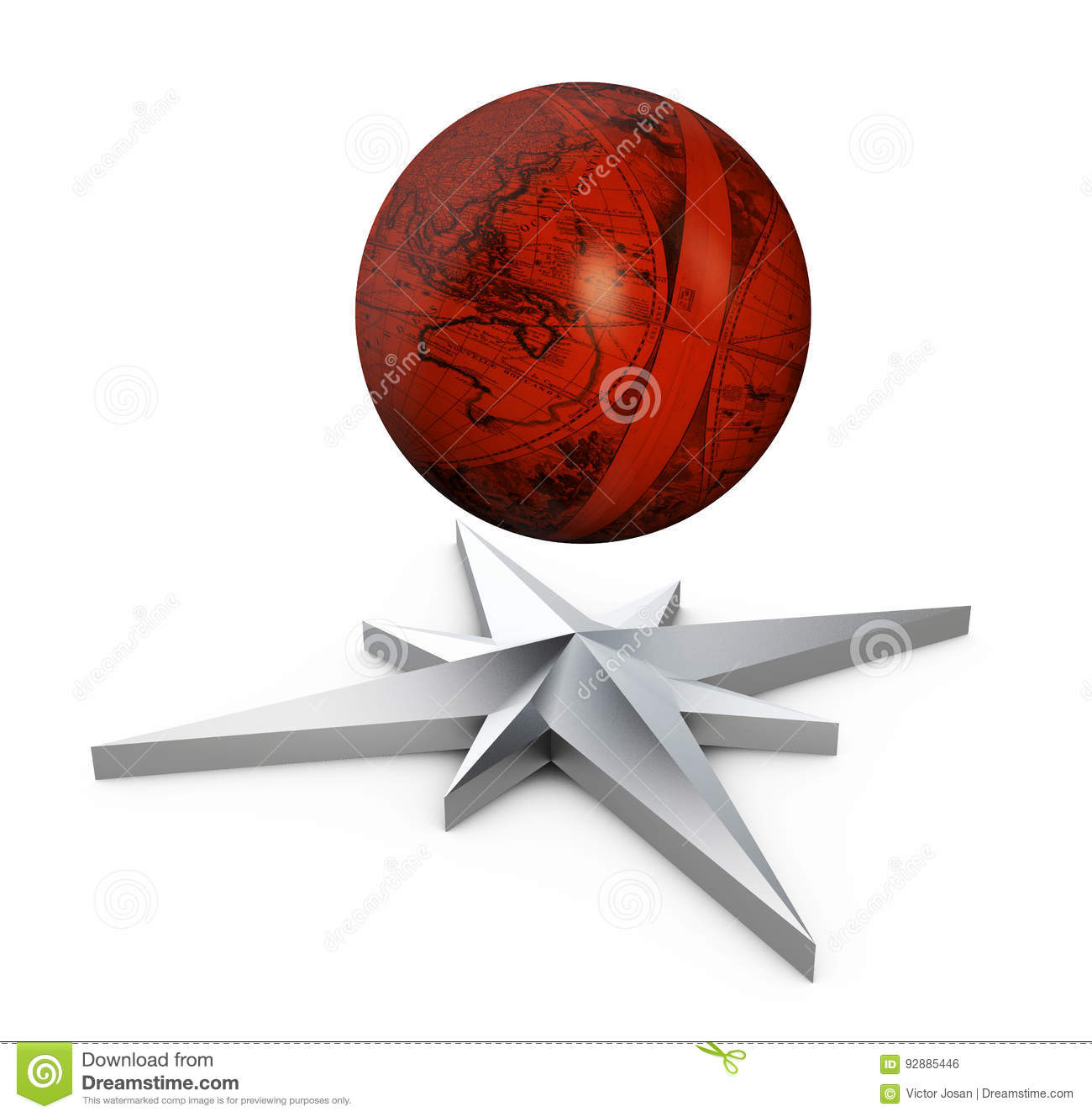 3d illustration of wind rose and medieval globe  isolated